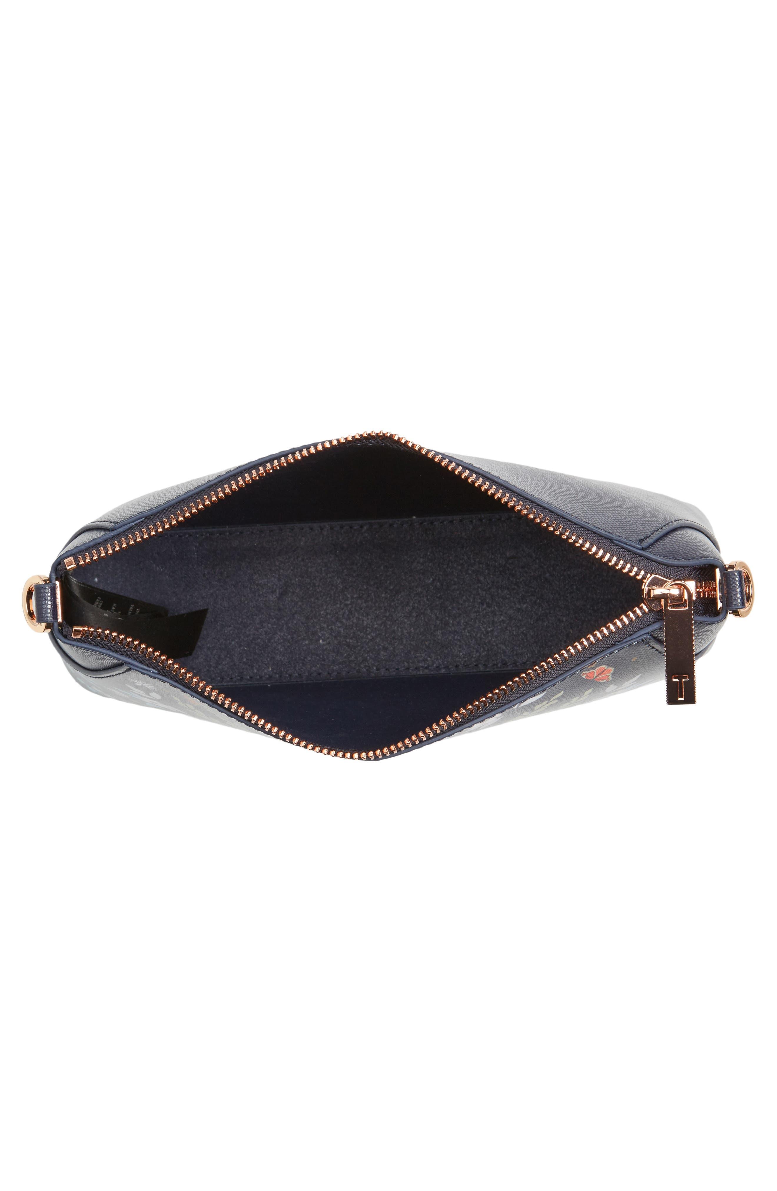 Marisiaa - Kyoto Gardens Leather Crossbody Bag,                             Alternate thumbnail 3, color,                             Mid Blue