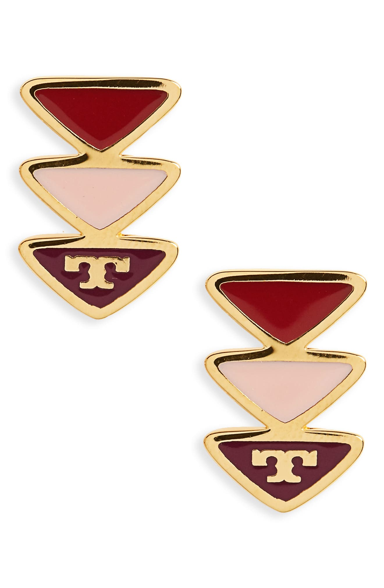 Stud Earrings,                             Main thumbnail 1, color,                             Liberty Red / Tory Gold