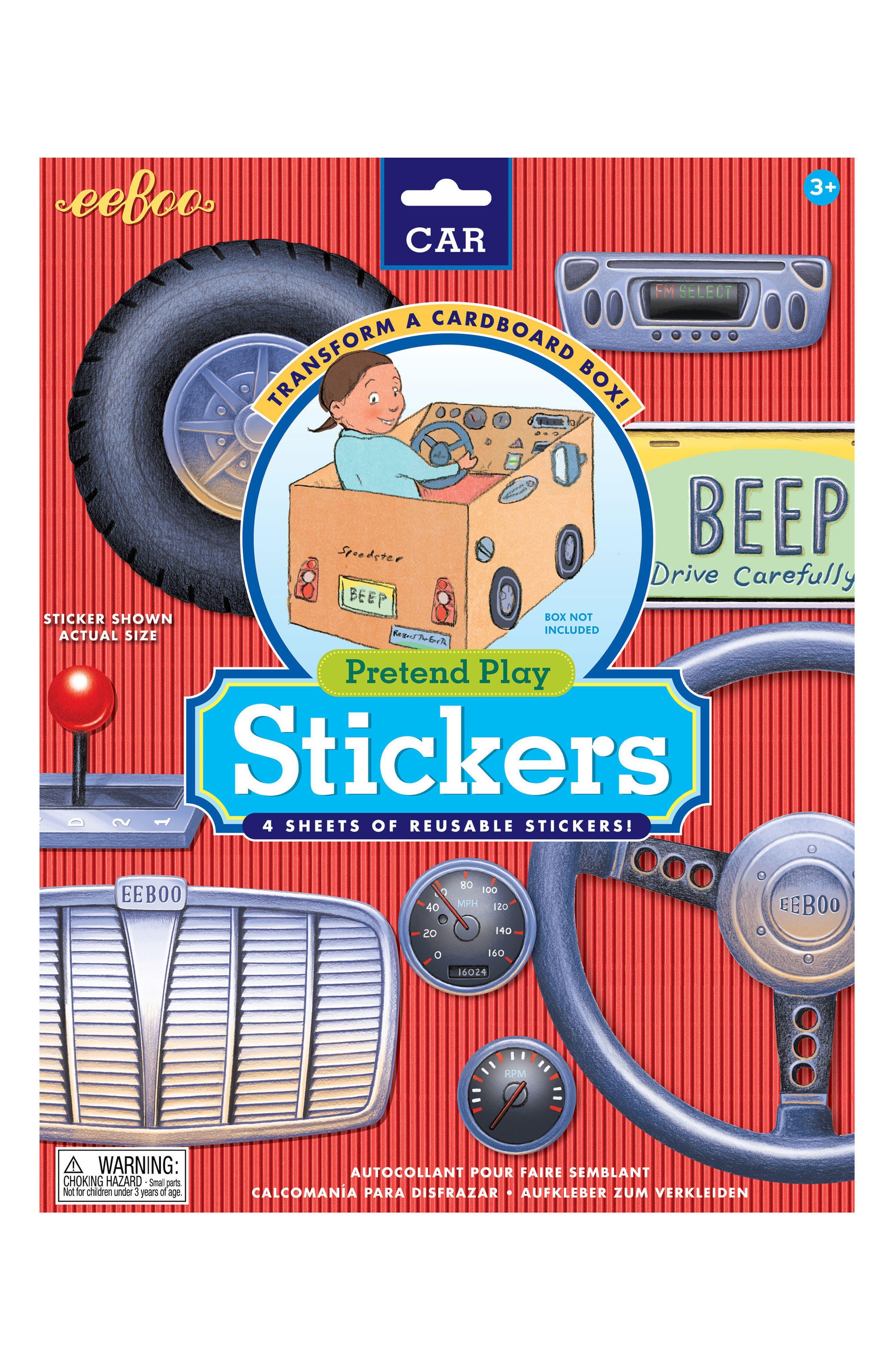 eeBoo Cardboard Box Car Stickers