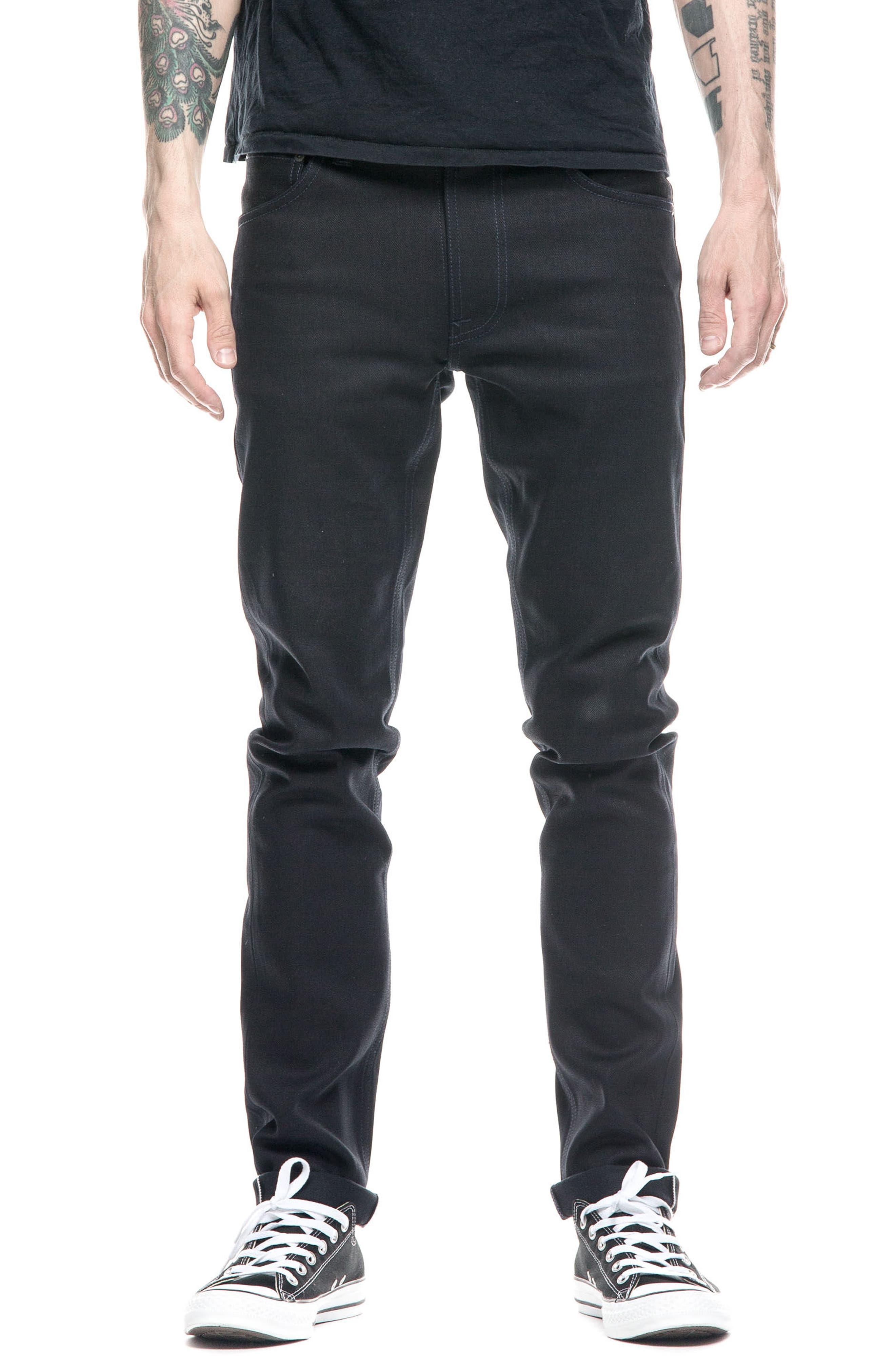 Nudie Jeans Lean Dean Slouchy Skinny Fit Jeans (Dry Deep Selvedge)