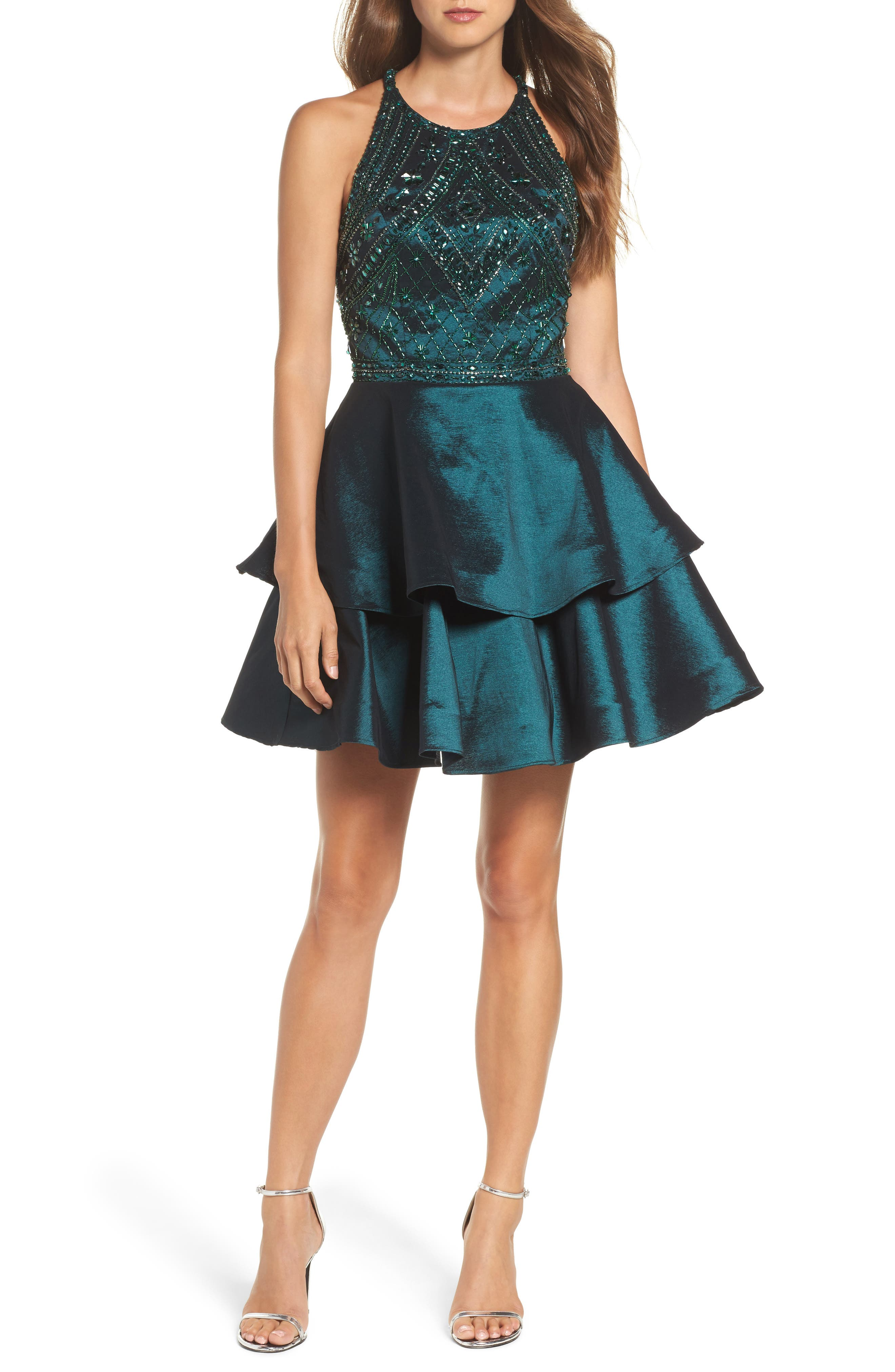 Beaded Tiered Fit & Flare Dress,                         Main,                         color, Forest