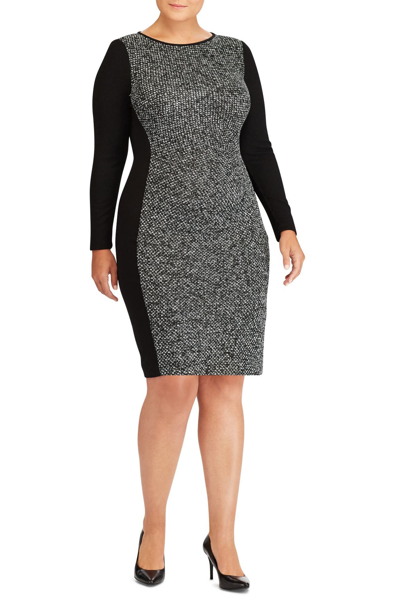 Main Image - Lauren Ralph Lauren Colorblock Jersey Sheath Dress (Plus Size)