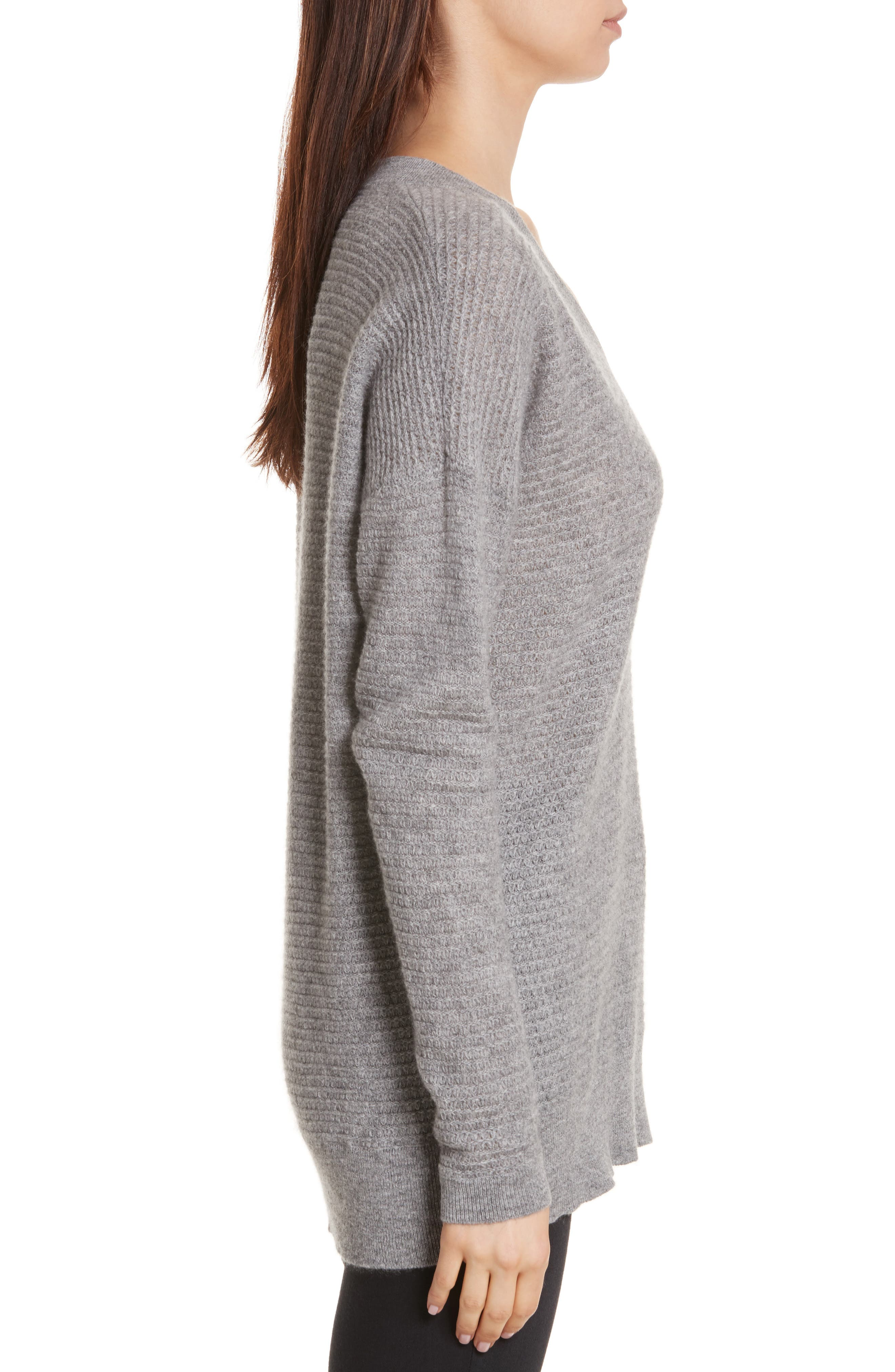 Cashmere V-Neck Sweater,                             Alternate thumbnail 3, color,                             Grey Marl