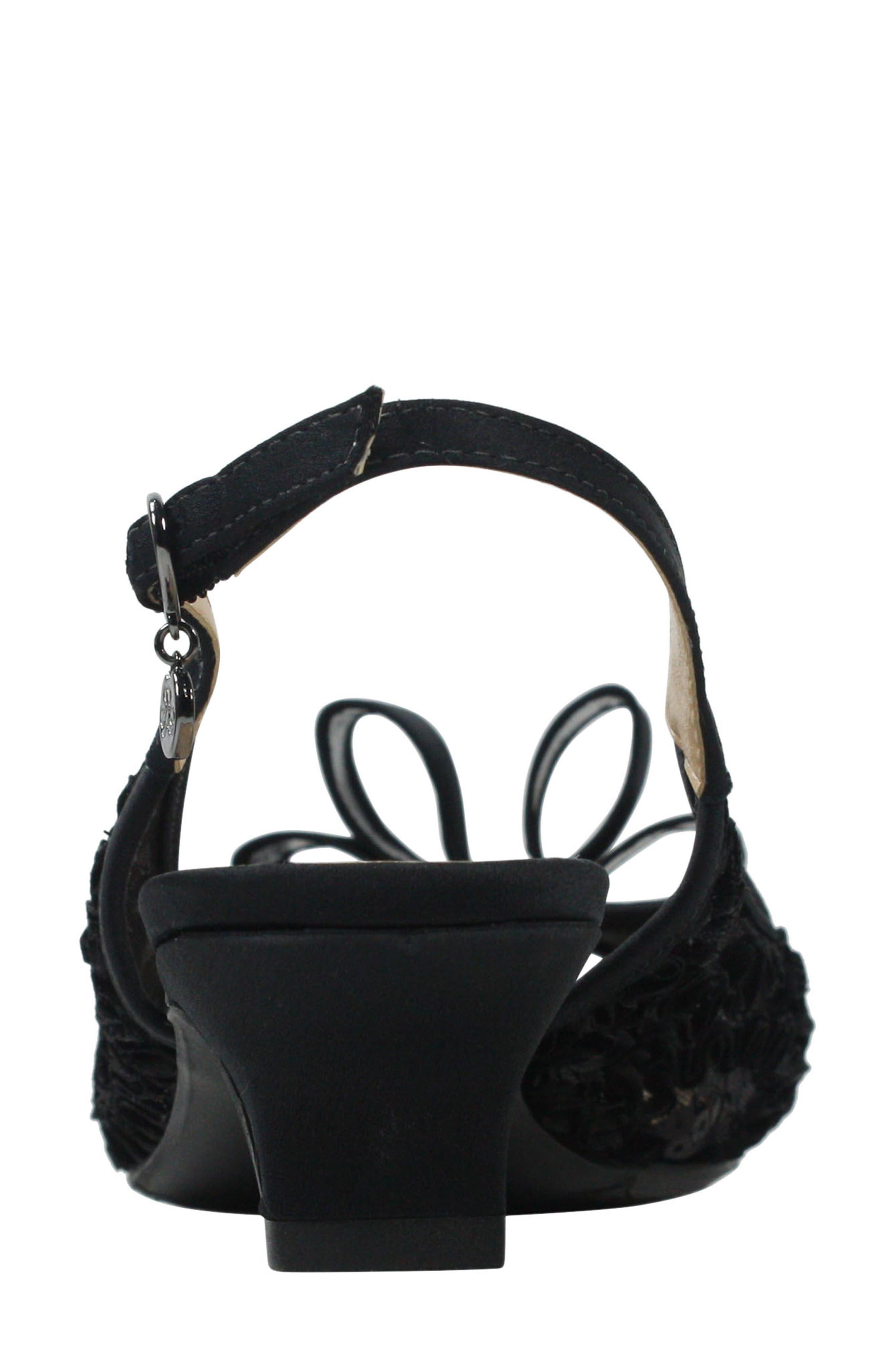 Landan Bow Slingback Sandal,                             Alternate thumbnail 6, color,                             Black Lace