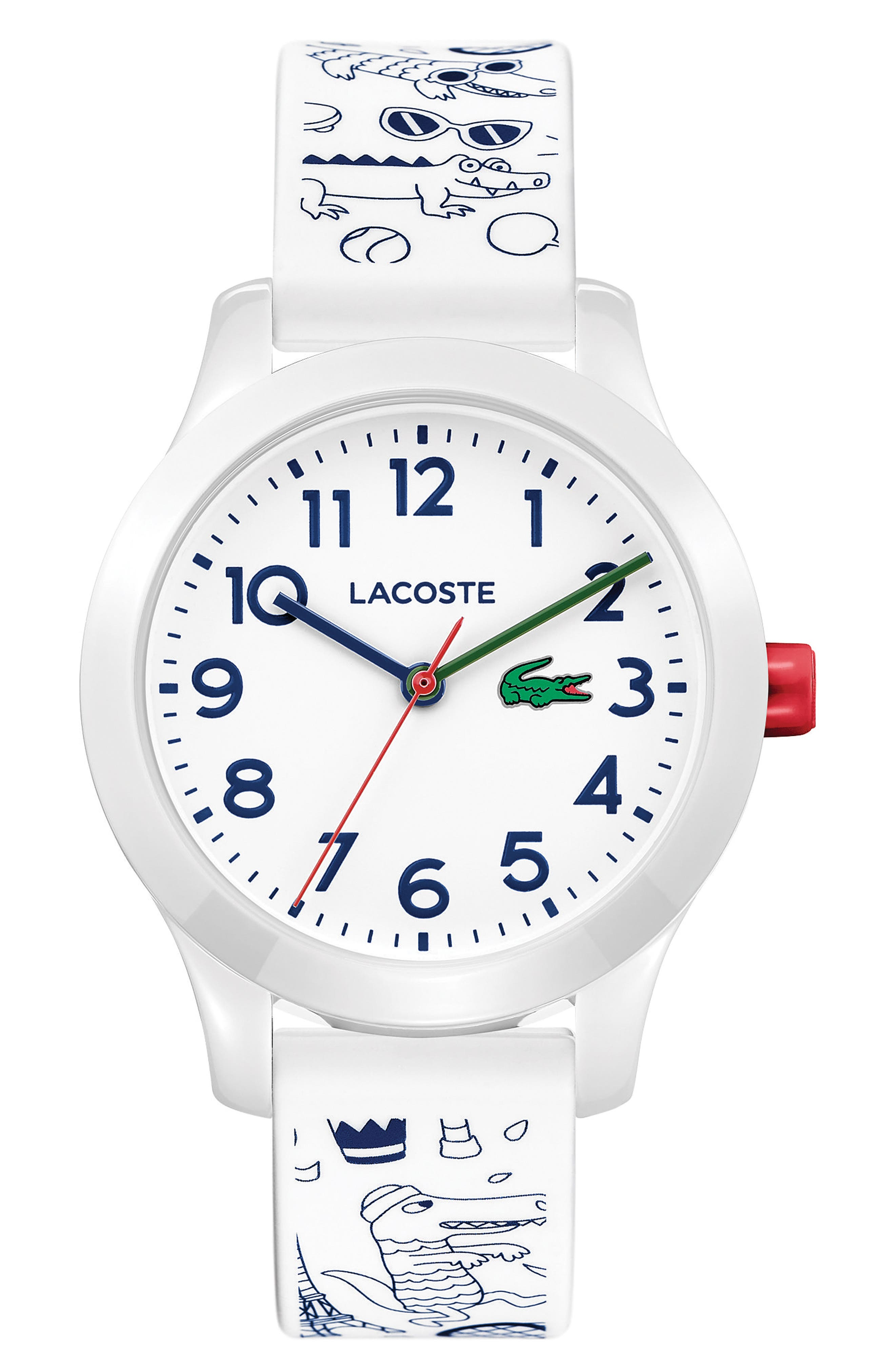 Lacoste 12.12 Print Silicone Strap Watch, 32mm