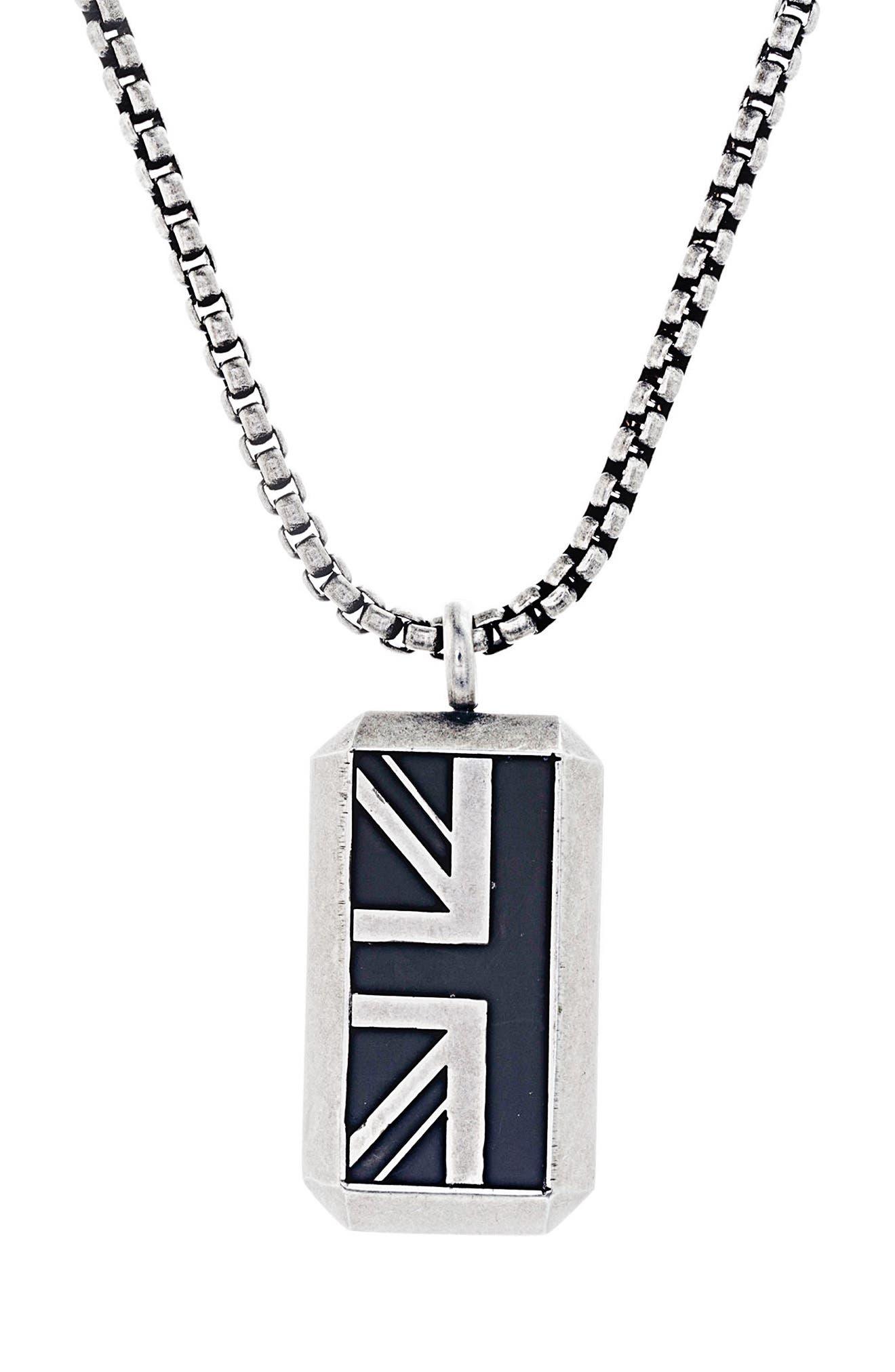 British Flag Necklace,                             Main thumbnail 1, color,                             Black/ Silver