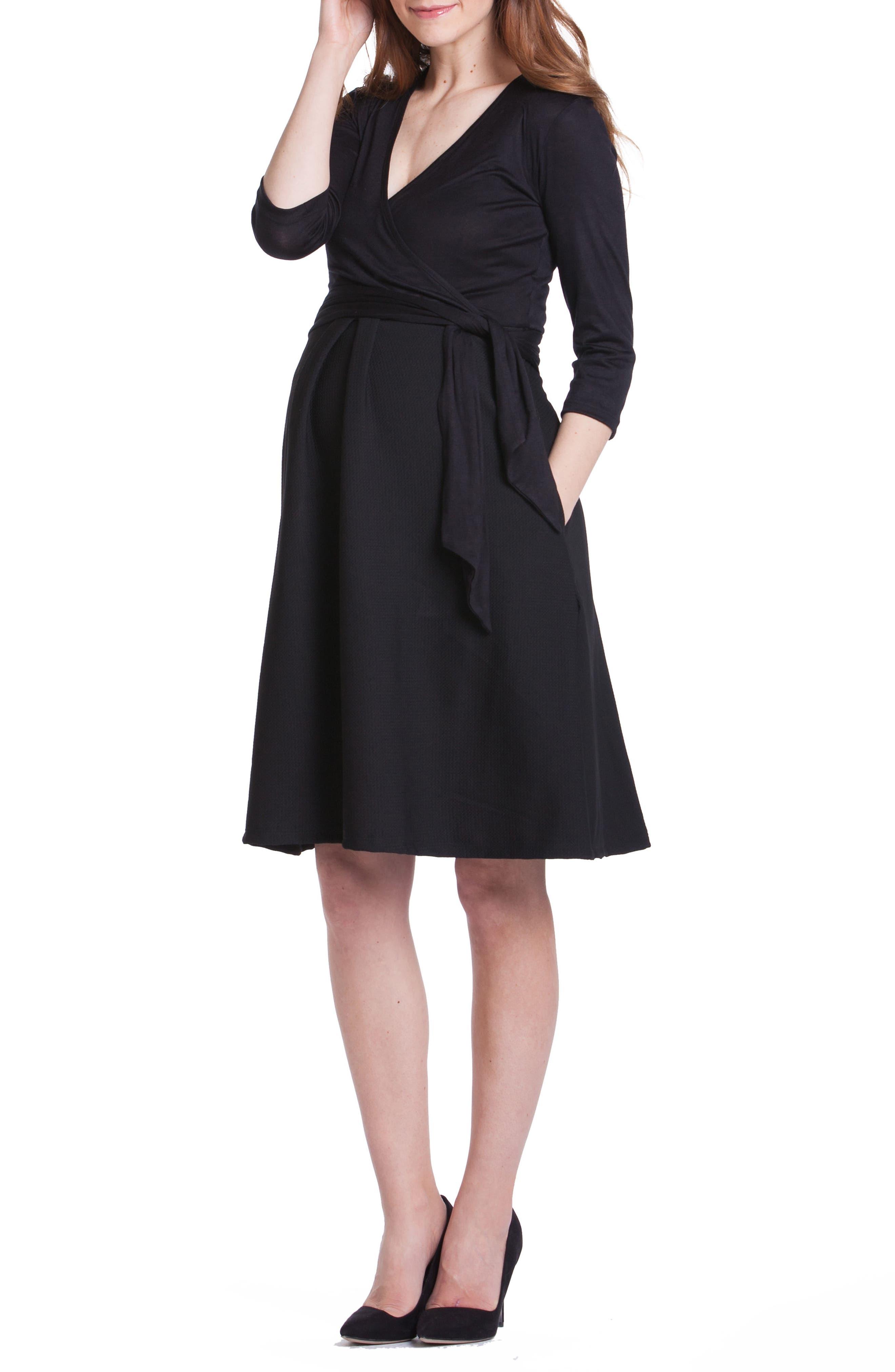 Abby Maternity/Nursing Dress,                         Main,                         color, Black