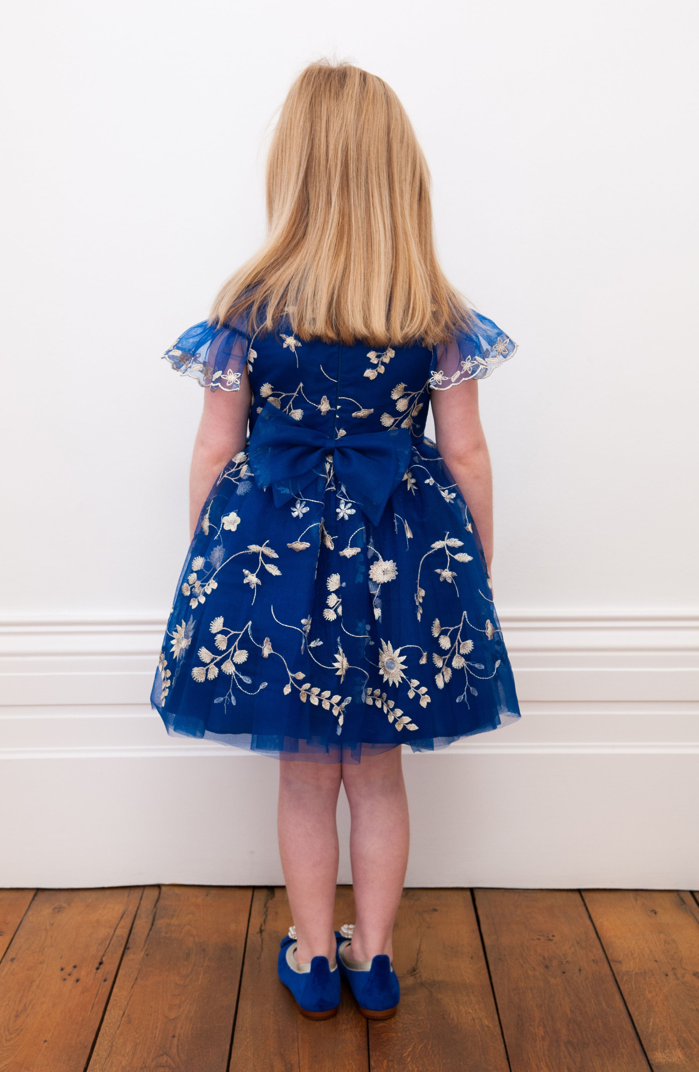 Floral Embroidery Dress,                             Alternate thumbnail 3, color,                             Royal Blue/ Gold