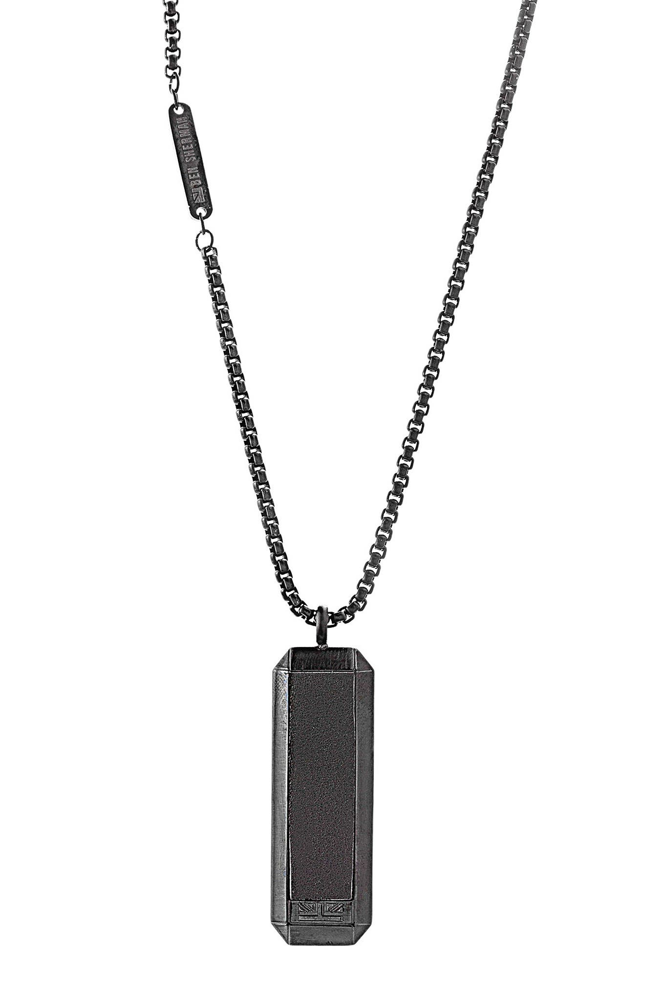 Leather Dog Tag Necklace,                         Main,                         color, Black