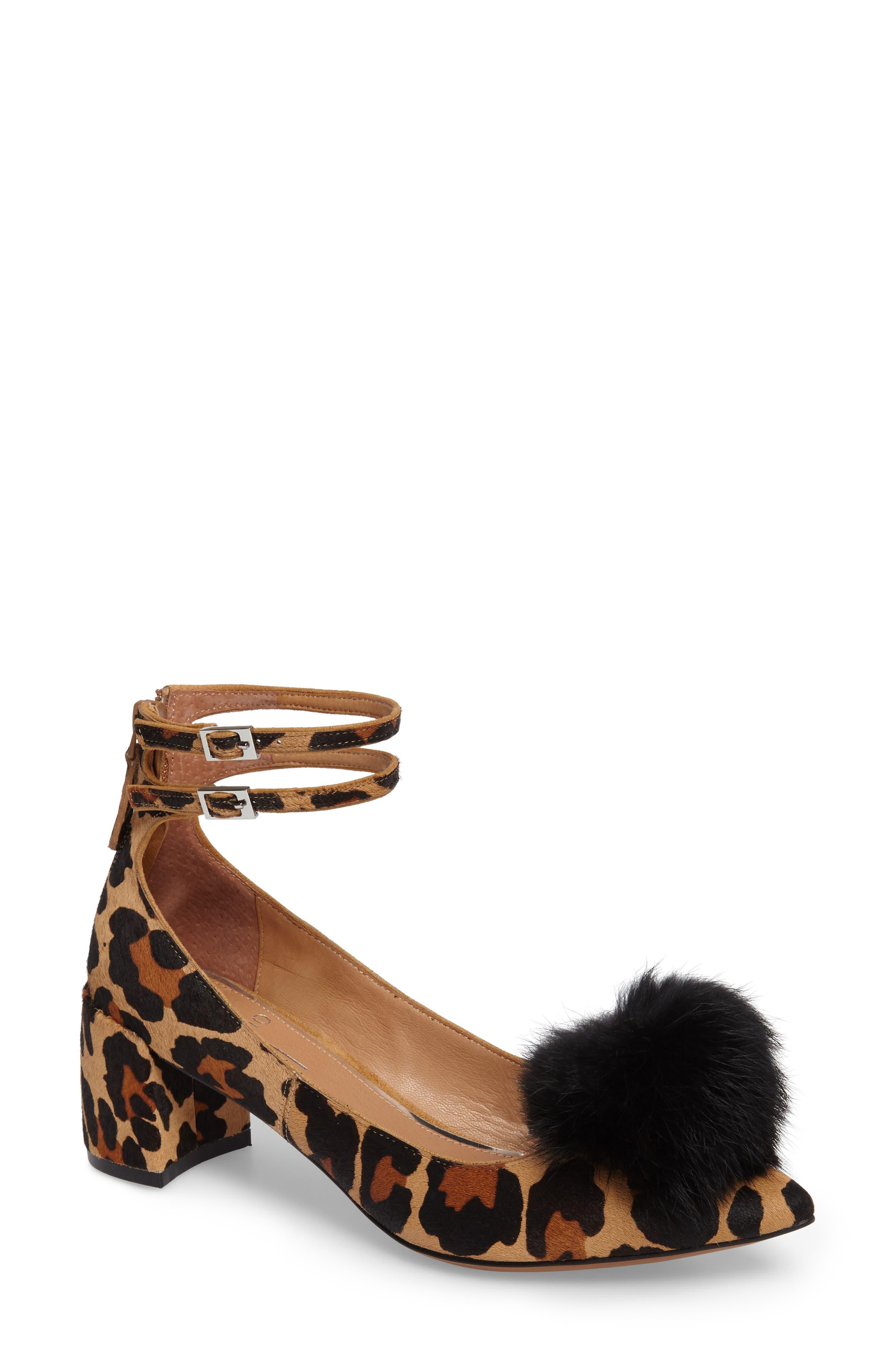 Nadine II Ankle Strap Pump,                         Main,                         color, Cognac Printed Calf Hair