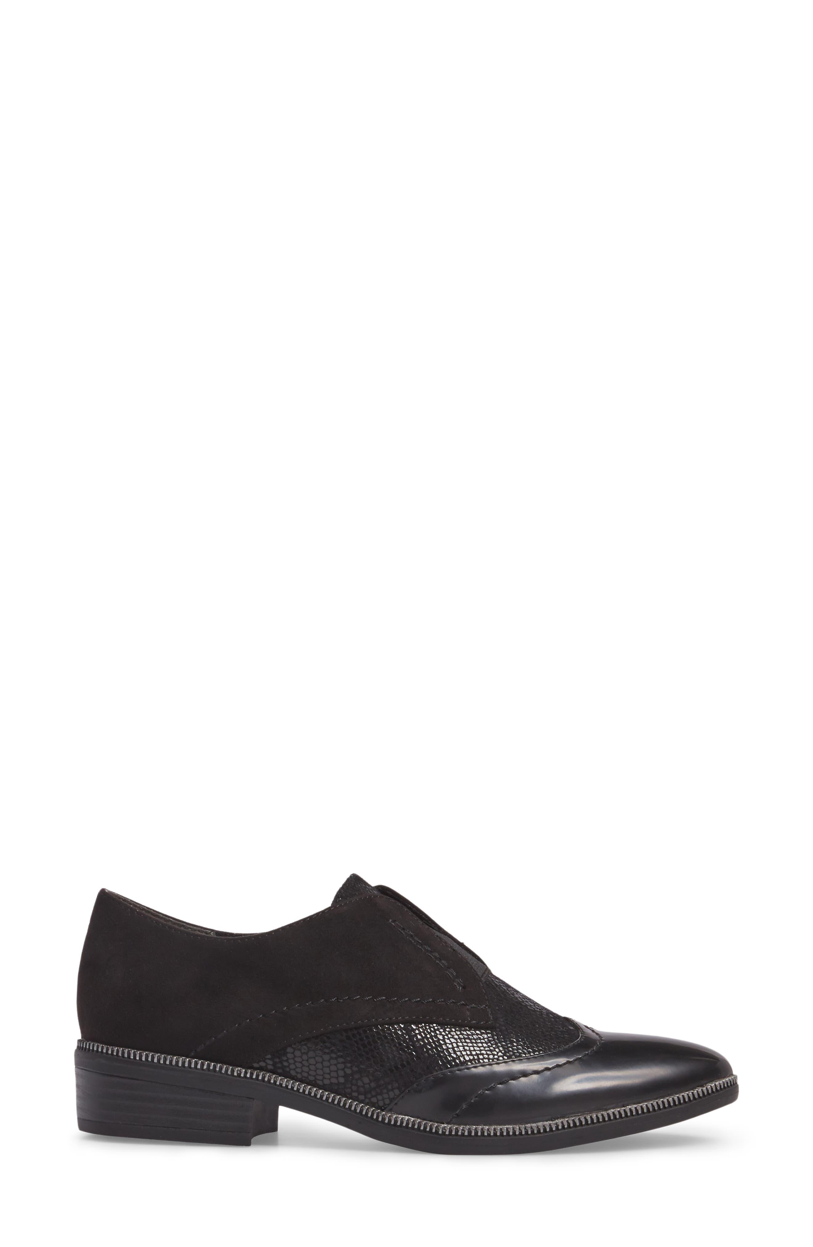 'Phanie' Slip-On Oxford,                             Alternate thumbnail 3, color,                             Black Fabric