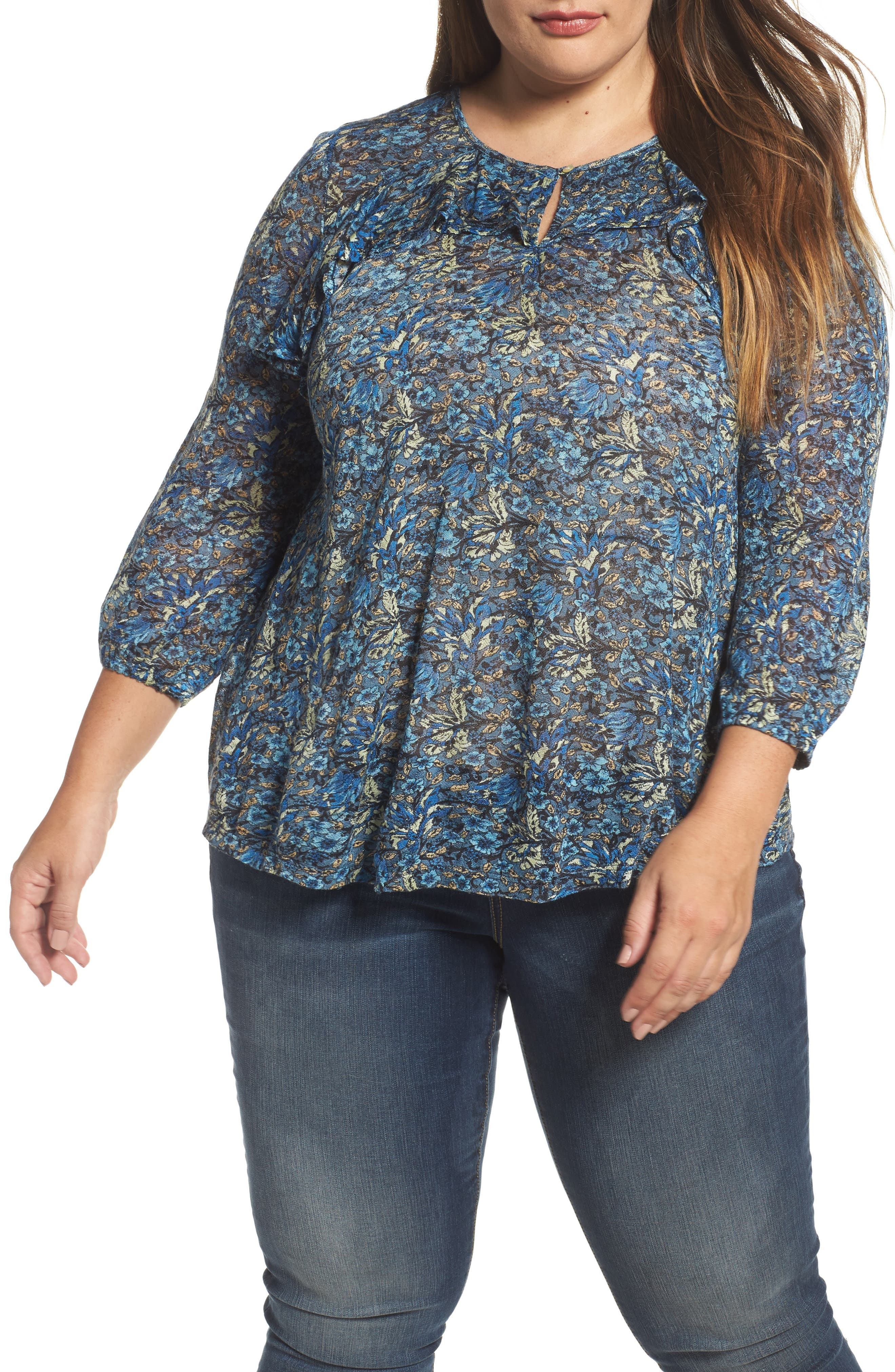 Alternate Image 1 Selected - Lucky Brand Ruffle Trim Floral Top (Plus Size)