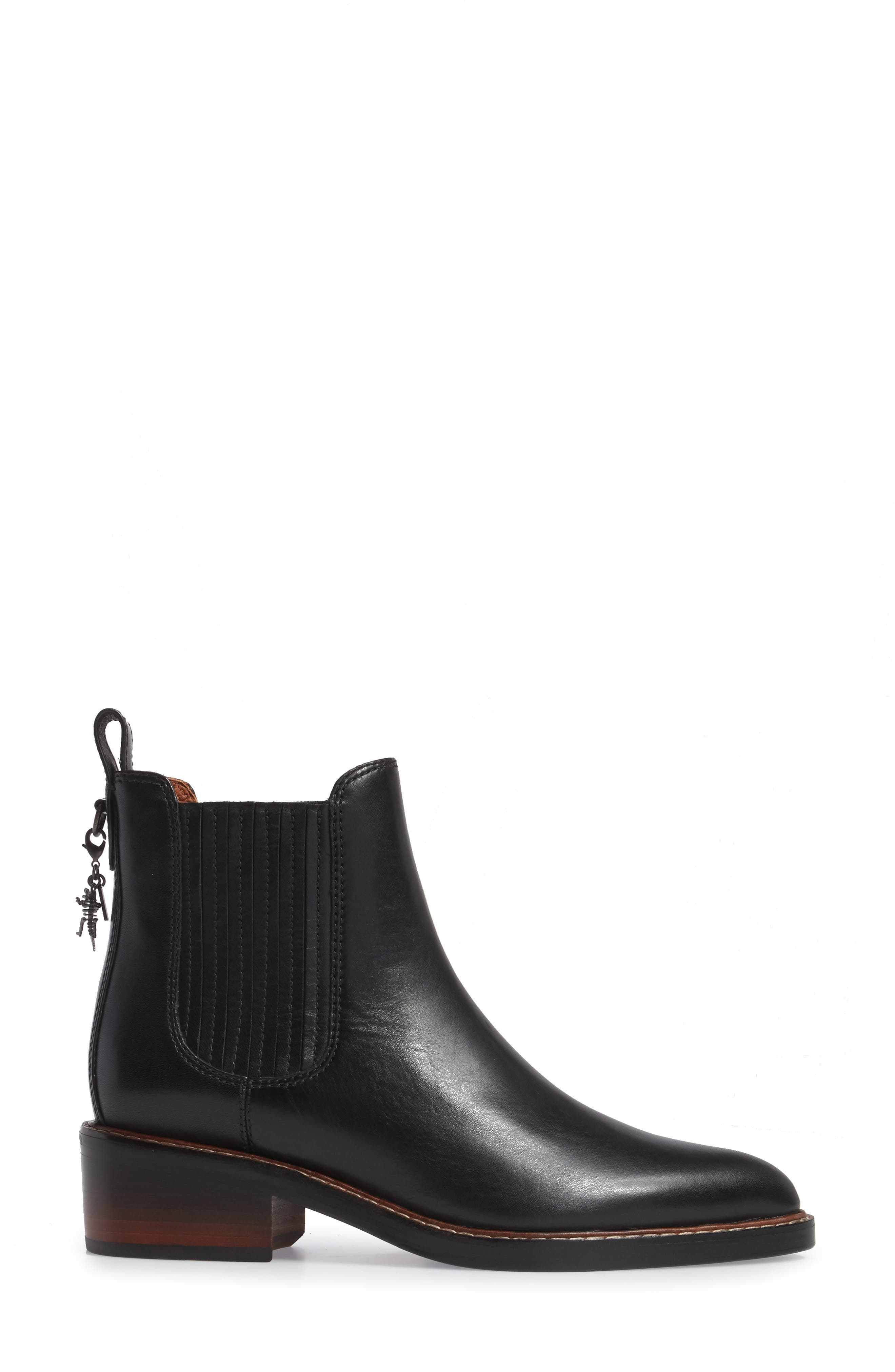 Bowery Embroidered Chelsea Bootie,                             Alternate thumbnail 3, color,                             Black Leather