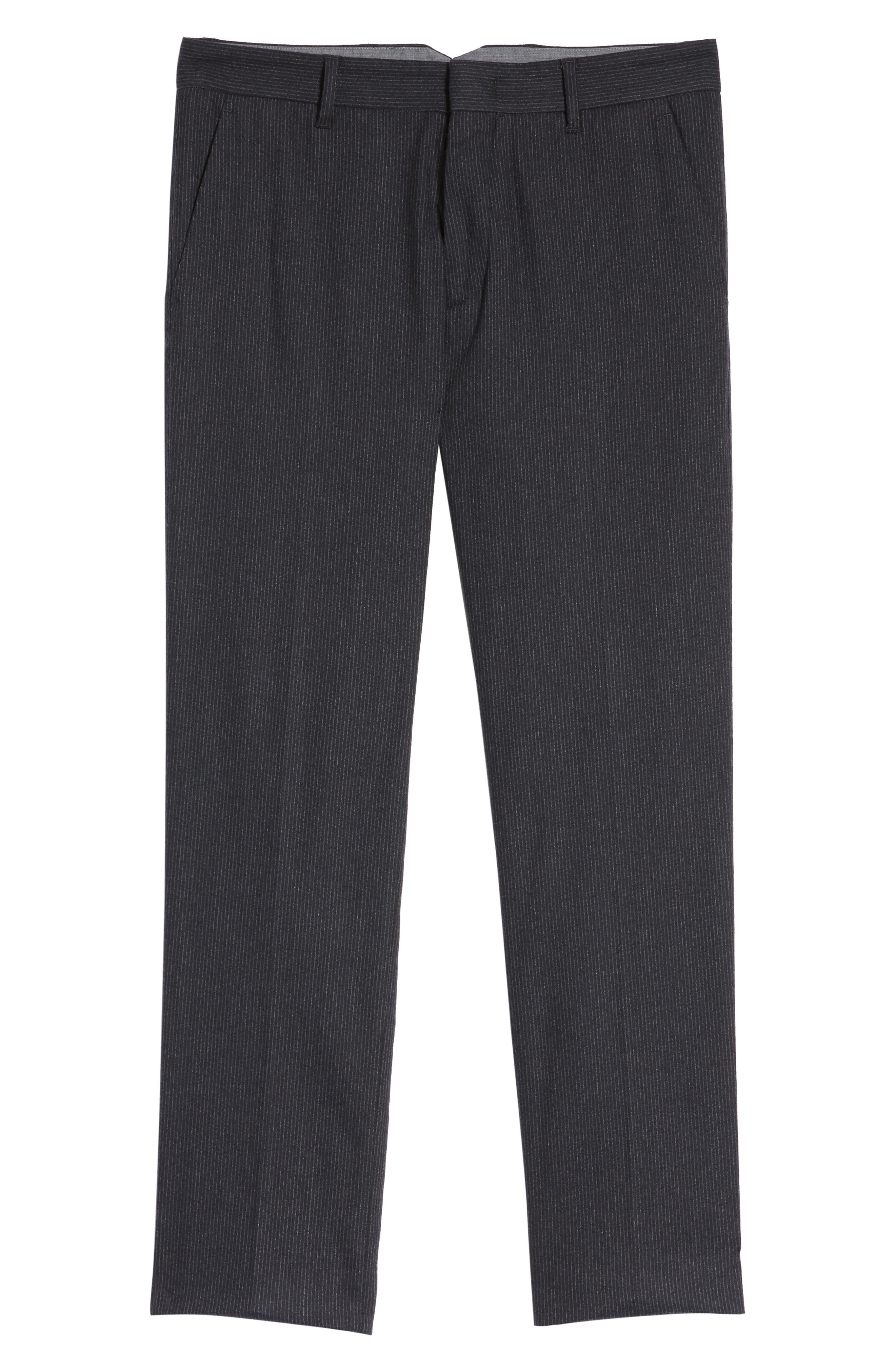 Rushmore Pinstripe Stretch Wool Blend Trousers,                             Alternate thumbnail 6, color,                             Navy