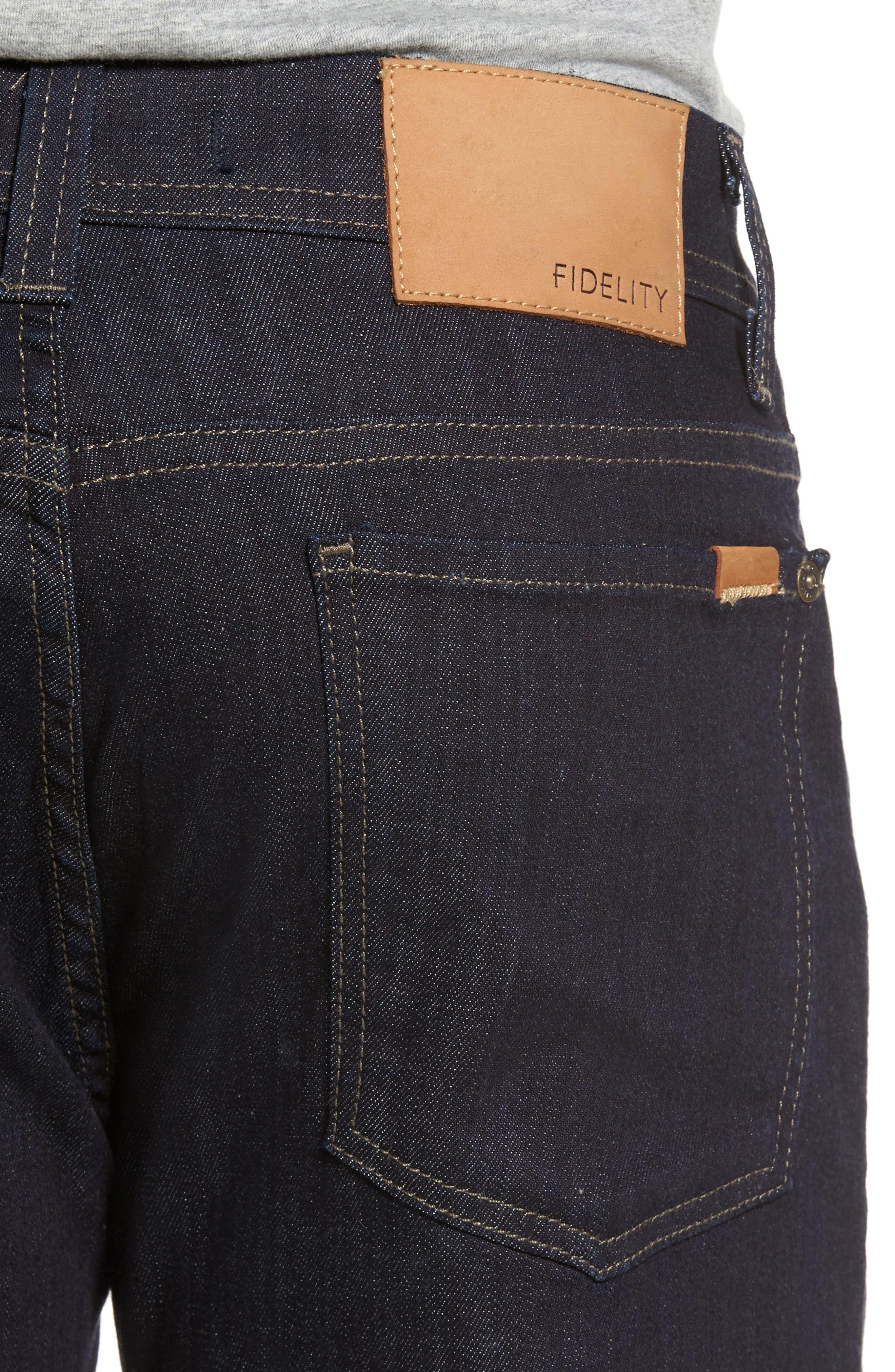 Alternate Image 4  - Fidelity Denim Jimmy Slim Straight Leg Jeans (Galaxy Rinse)