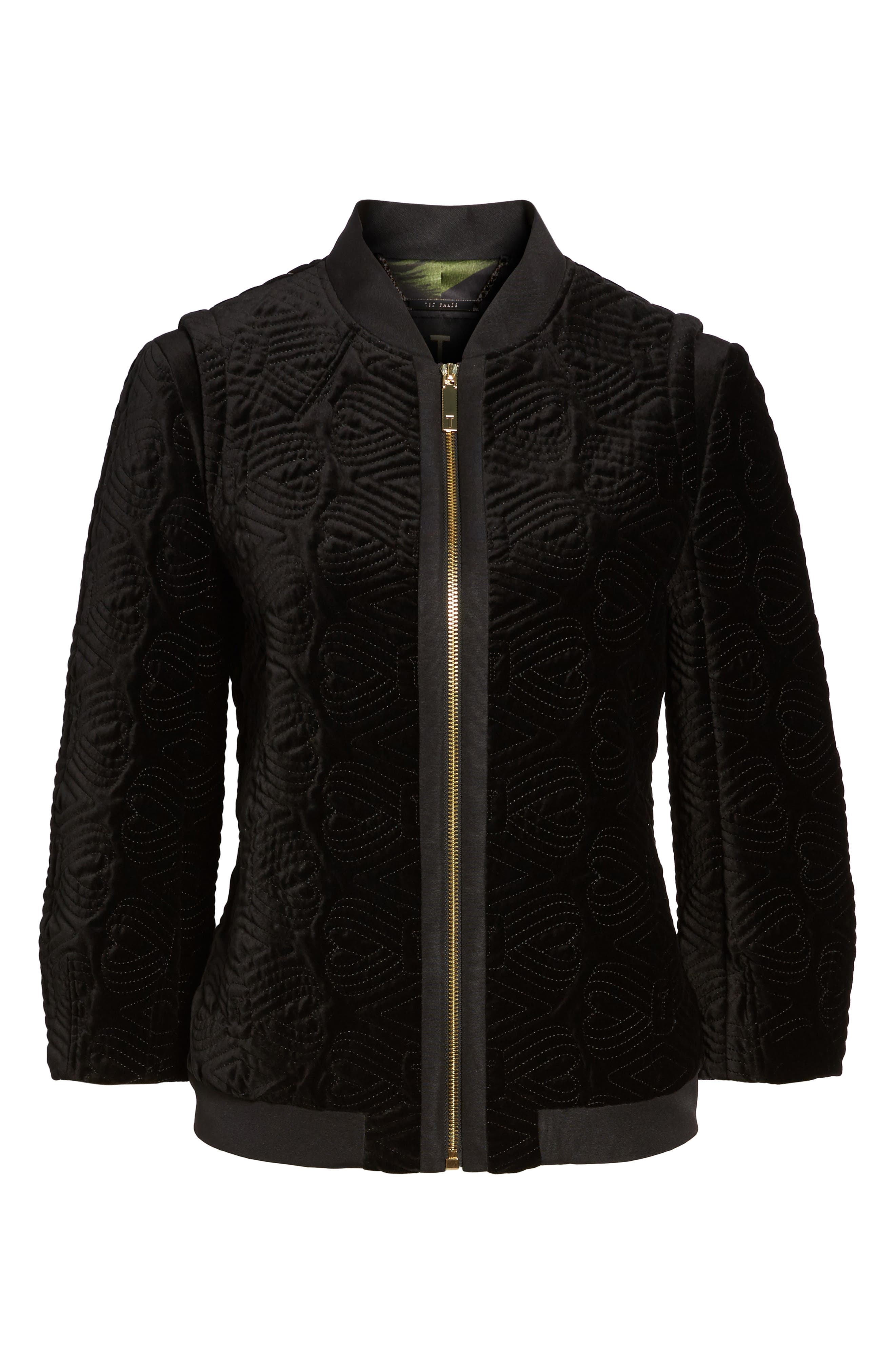 Alternate Image 6  - Ted Baker London Quilted Velvet Bomber Jacket