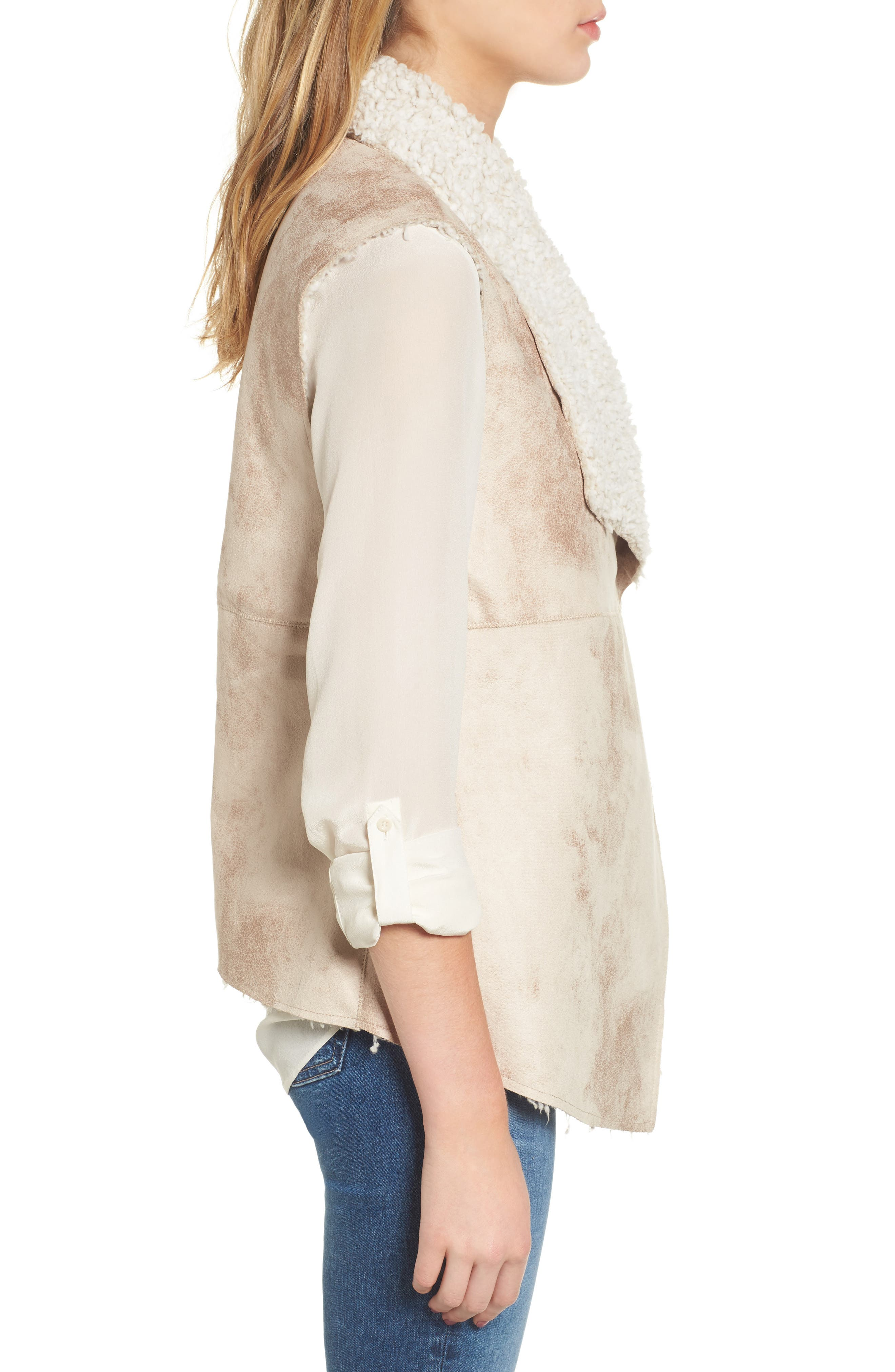 Frosty Faux Shearling Vest,                             Alternate thumbnail 3, color,                             Natural