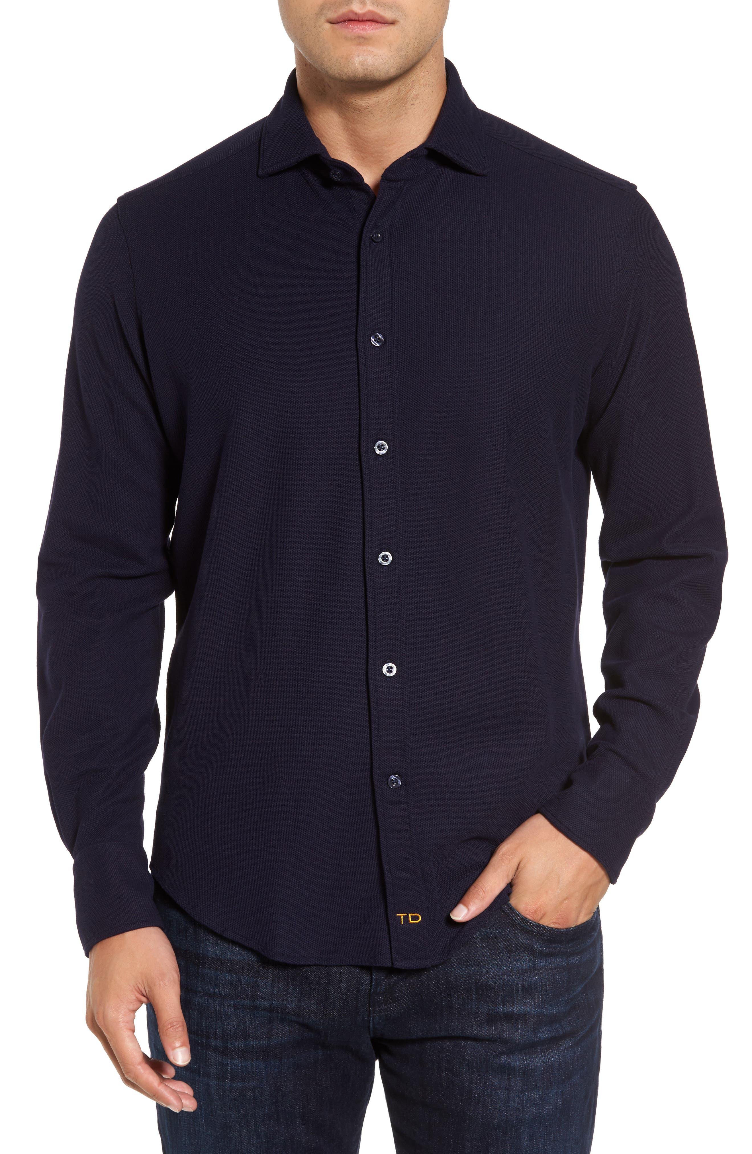 Thomas Dean Regular Fit Herringbone Sport Shirt