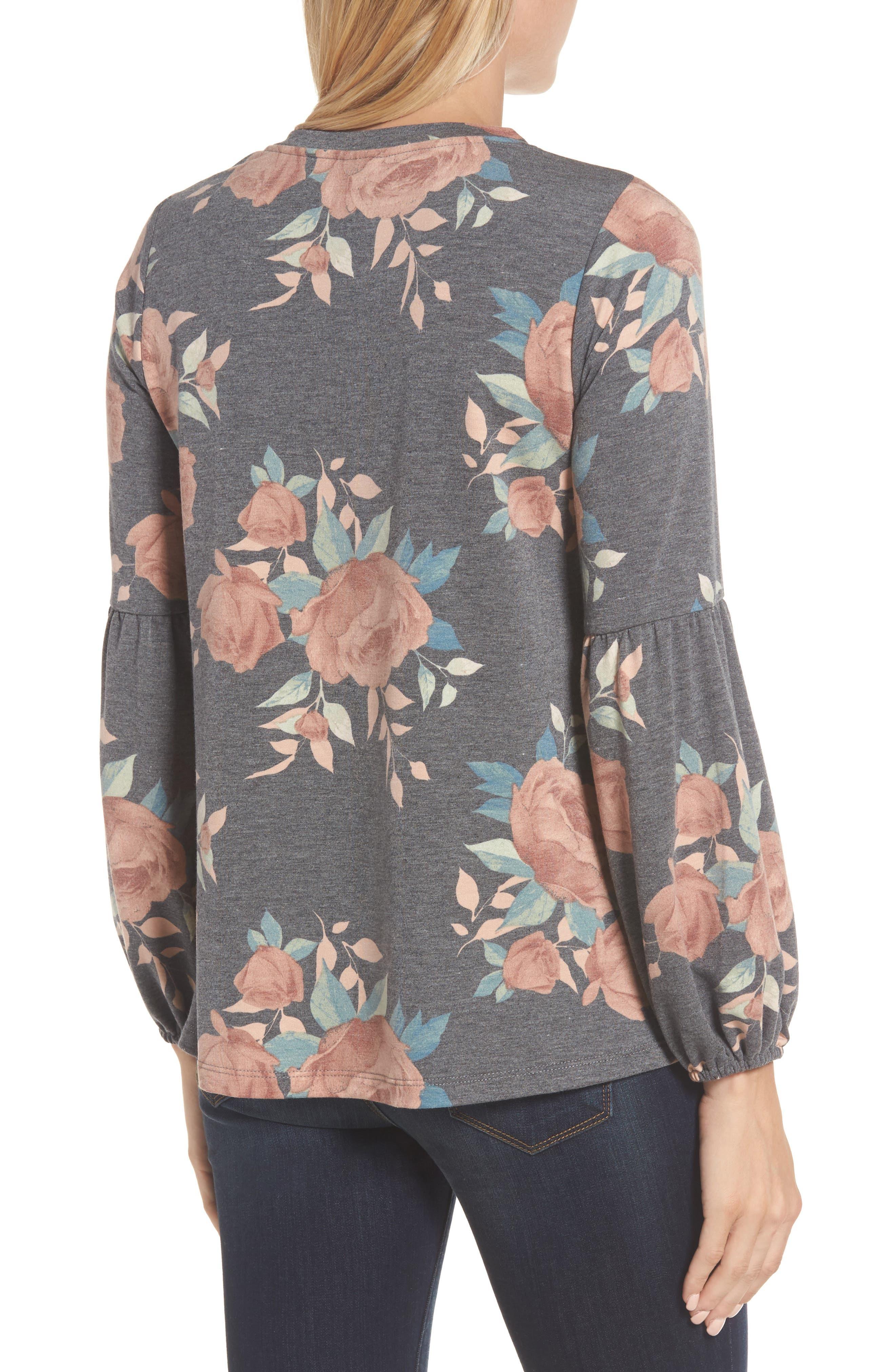 Floral Print Balloon Sleeve Sweatshirt,                             Alternate thumbnail 2, color,                             Black/ Blush