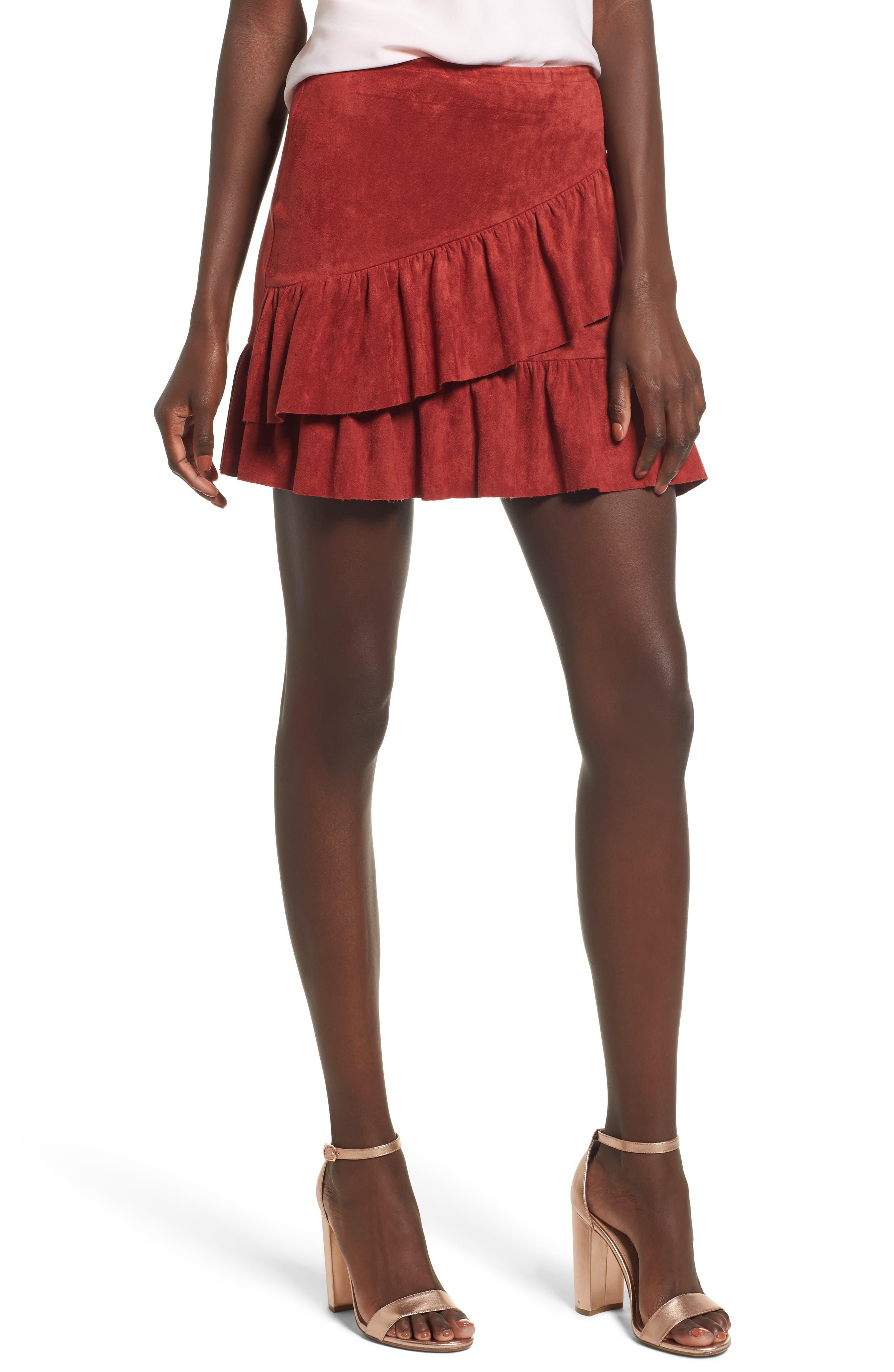 Faux Suede Ruffle Miniskirt,                         Main,                         color, Terracotta