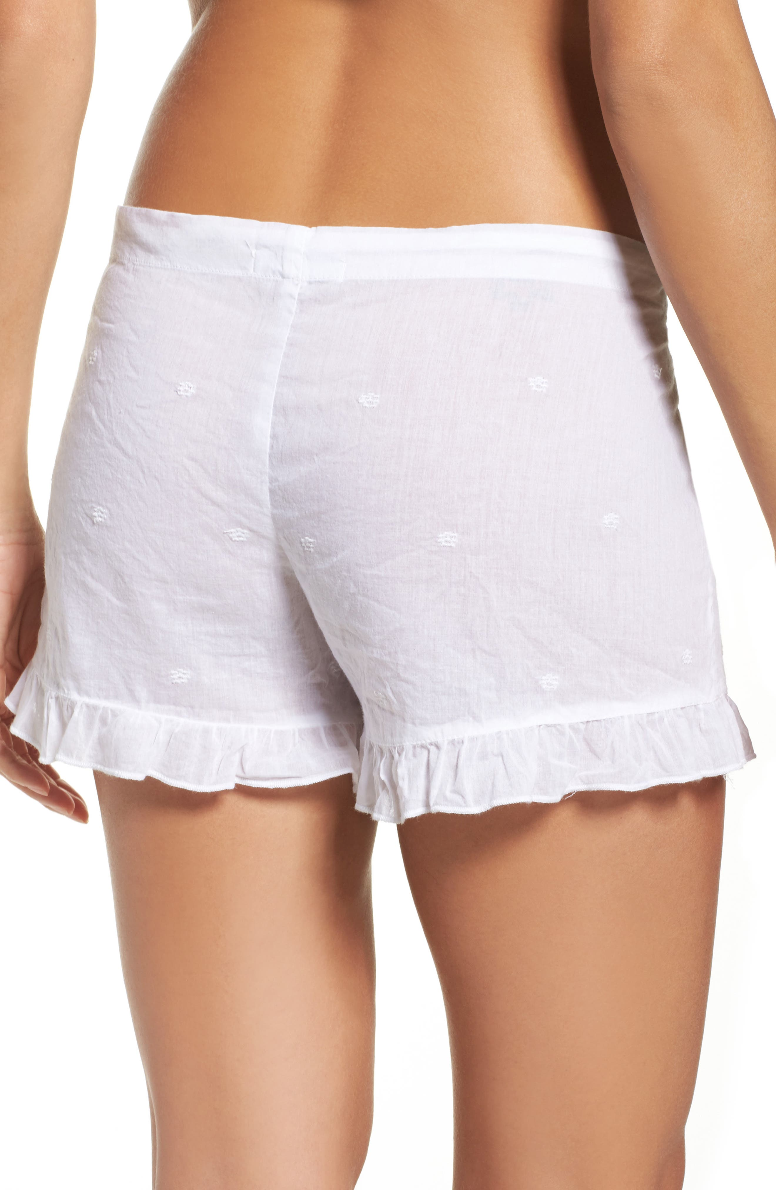 Ruffle Sleep Shorts,                             Alternate thumbnail 2, color,                             White