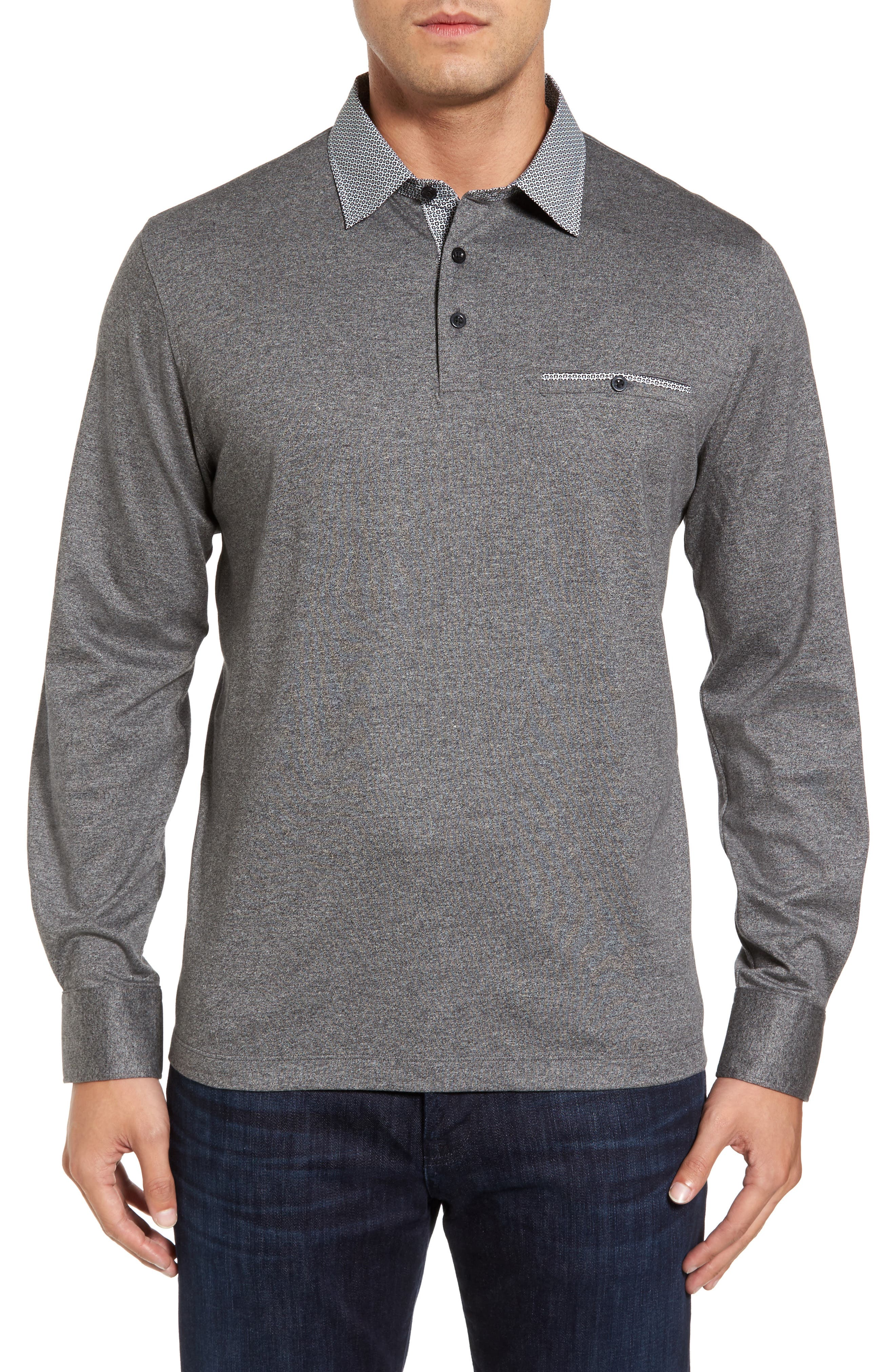 Main Image - Thomas Dean Long Sleeve Woven Trim Polo