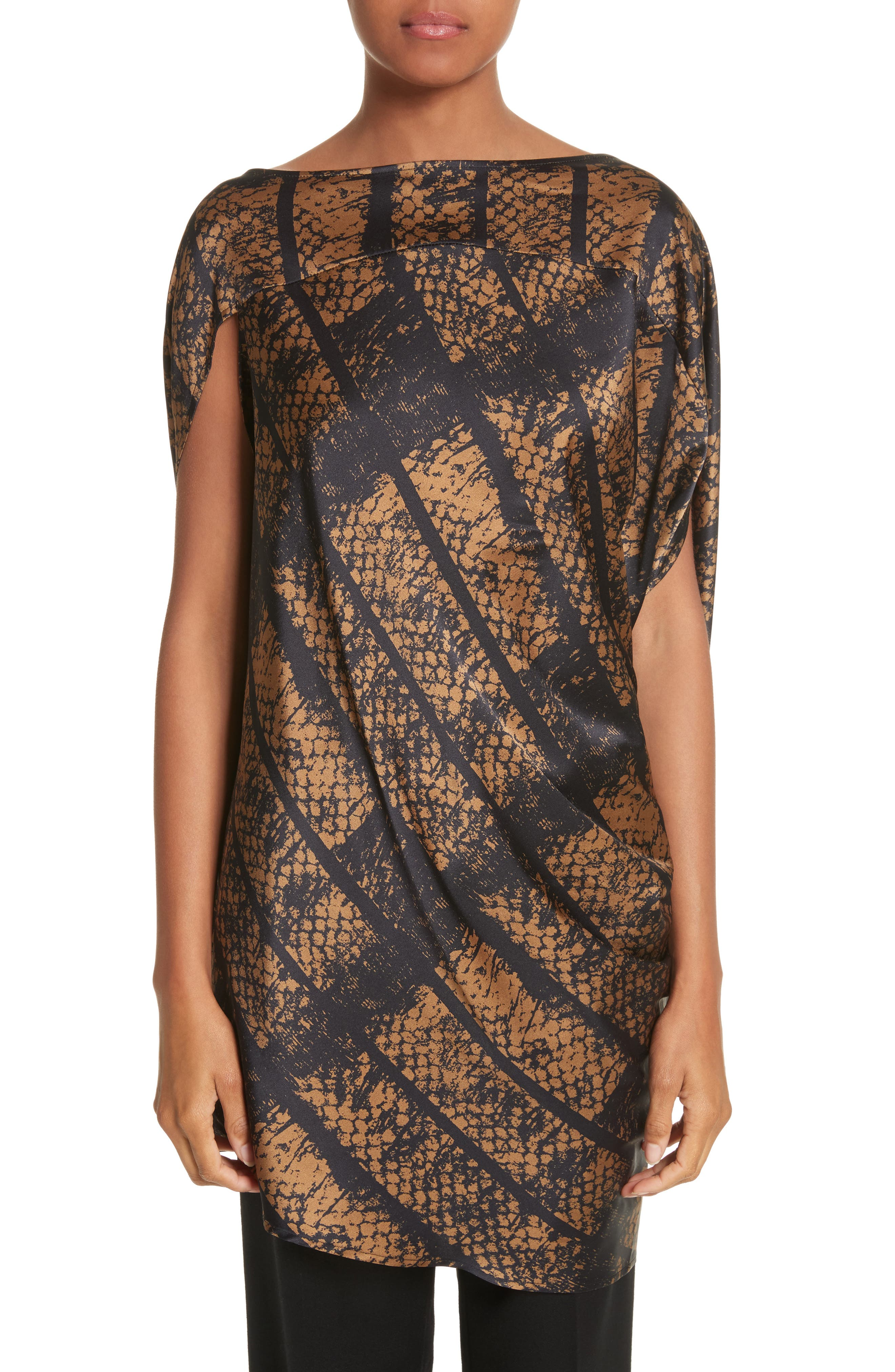 Lui Dot Mesh Stretch Silk Charmeuse Tunic,                         Main,                         color, Dot Mesh Bronze