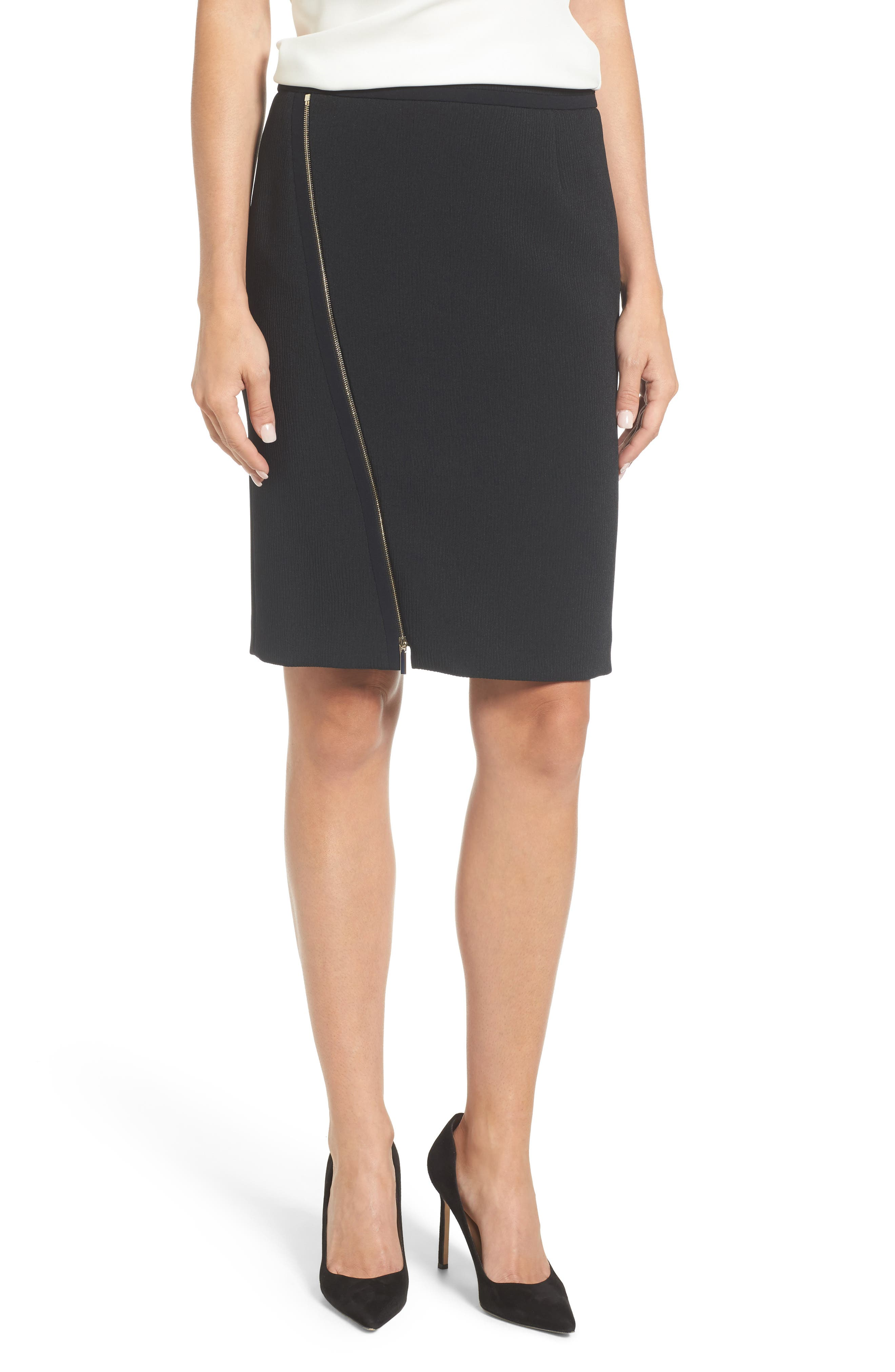 Vanafea Zip Front Crepe Pencil Skirt,                         Main,                         color, Black