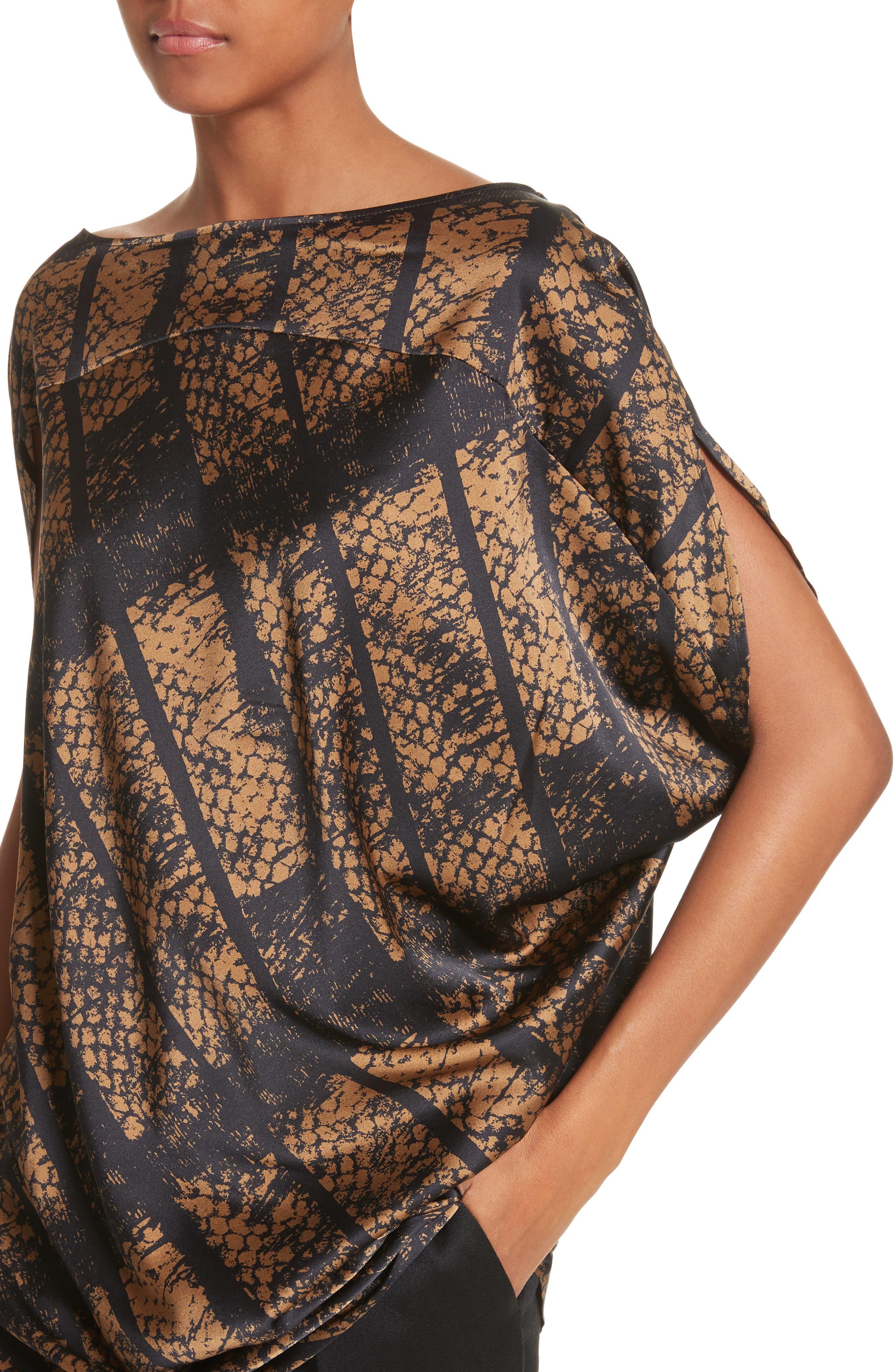 Lui Dot Mesh Stretch Silk Charmeuse Tunic,                             Alternate thumbnail 4, color,                             Dot Mesh Bronze