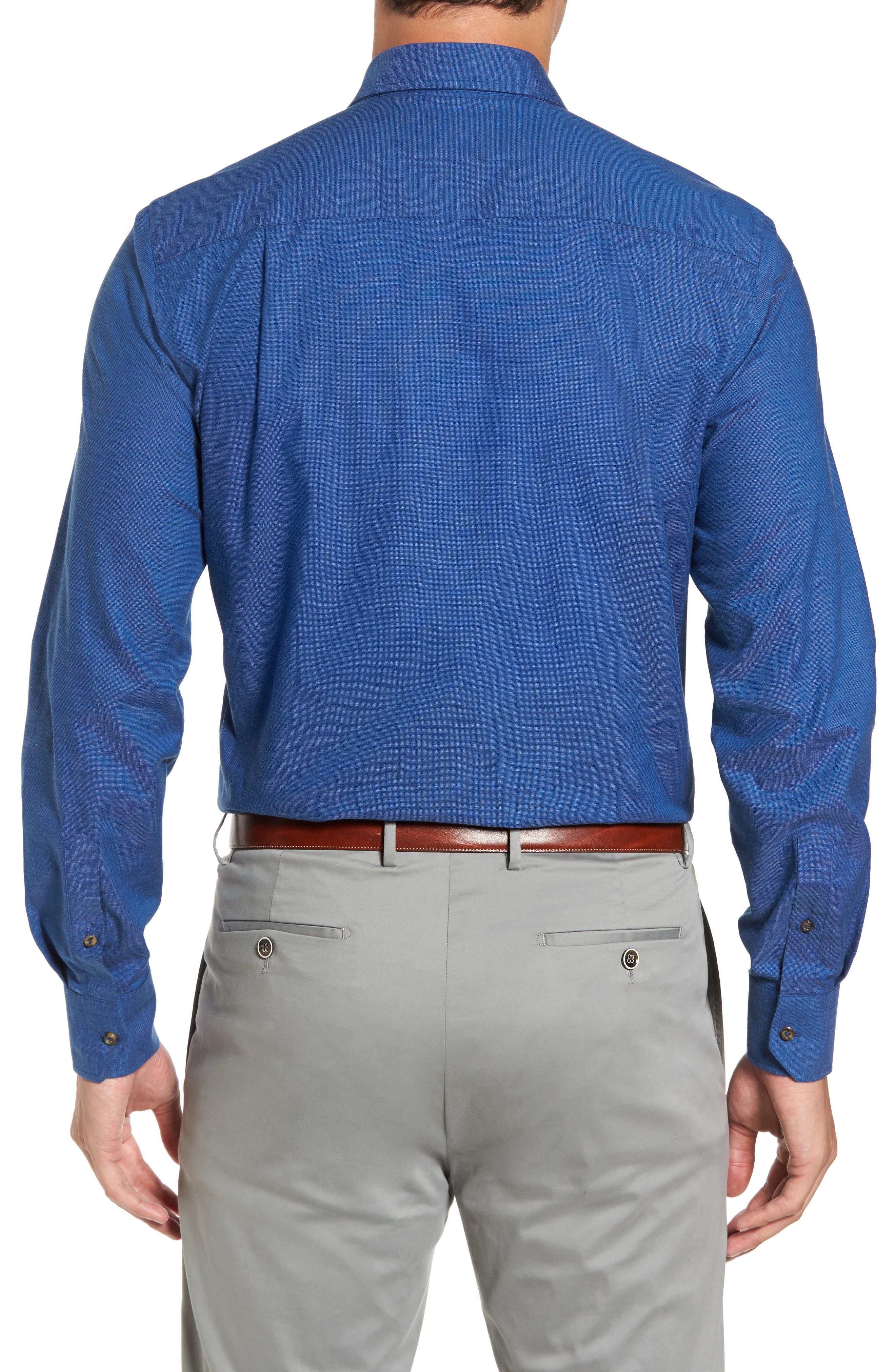 Regular Fit Woven Sport Shirt,                             Alternate thumbnail 2, color,                             Navy