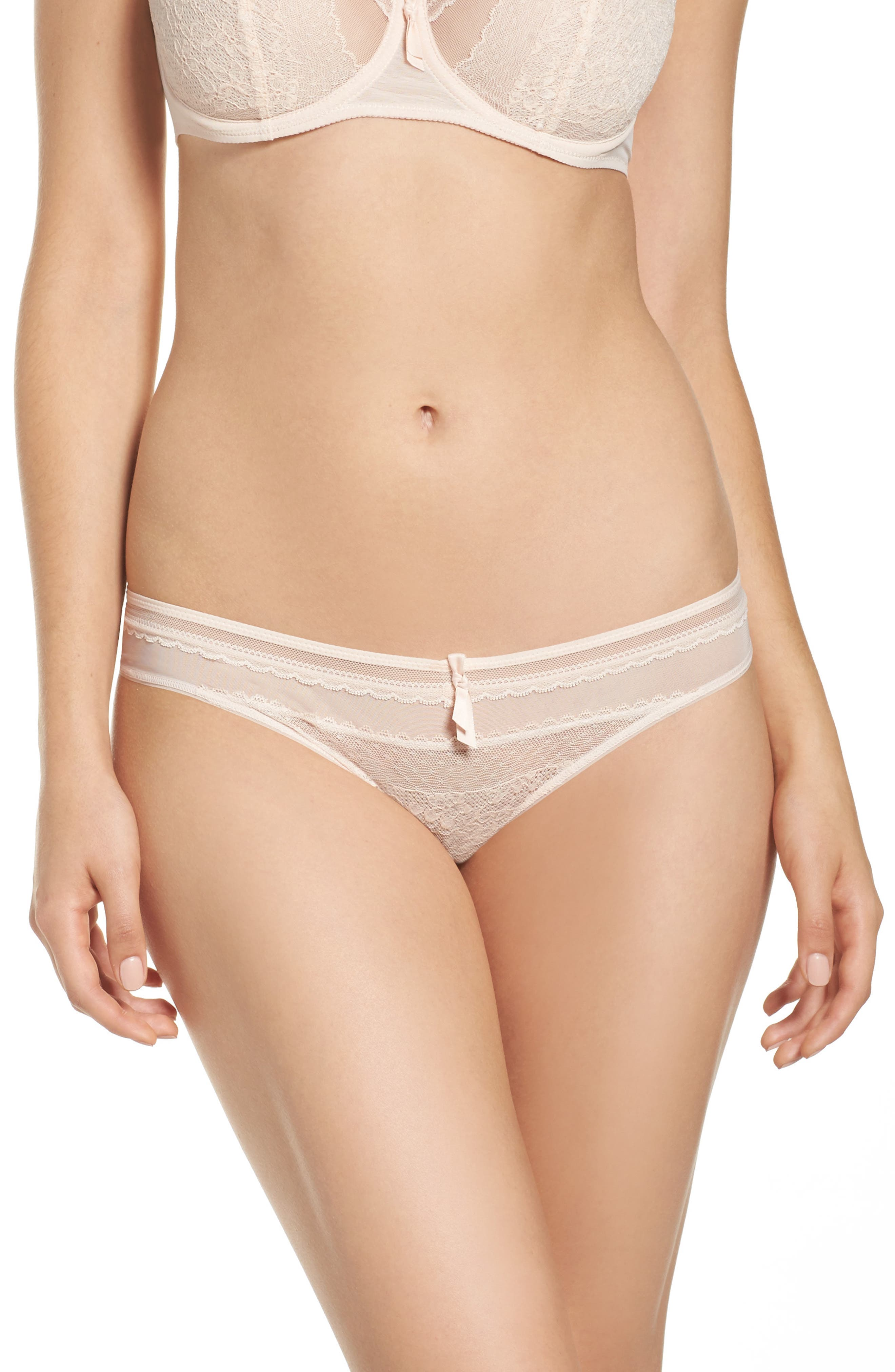 Embrasse Moi Lace Thong,                         Main,                         color, Blush