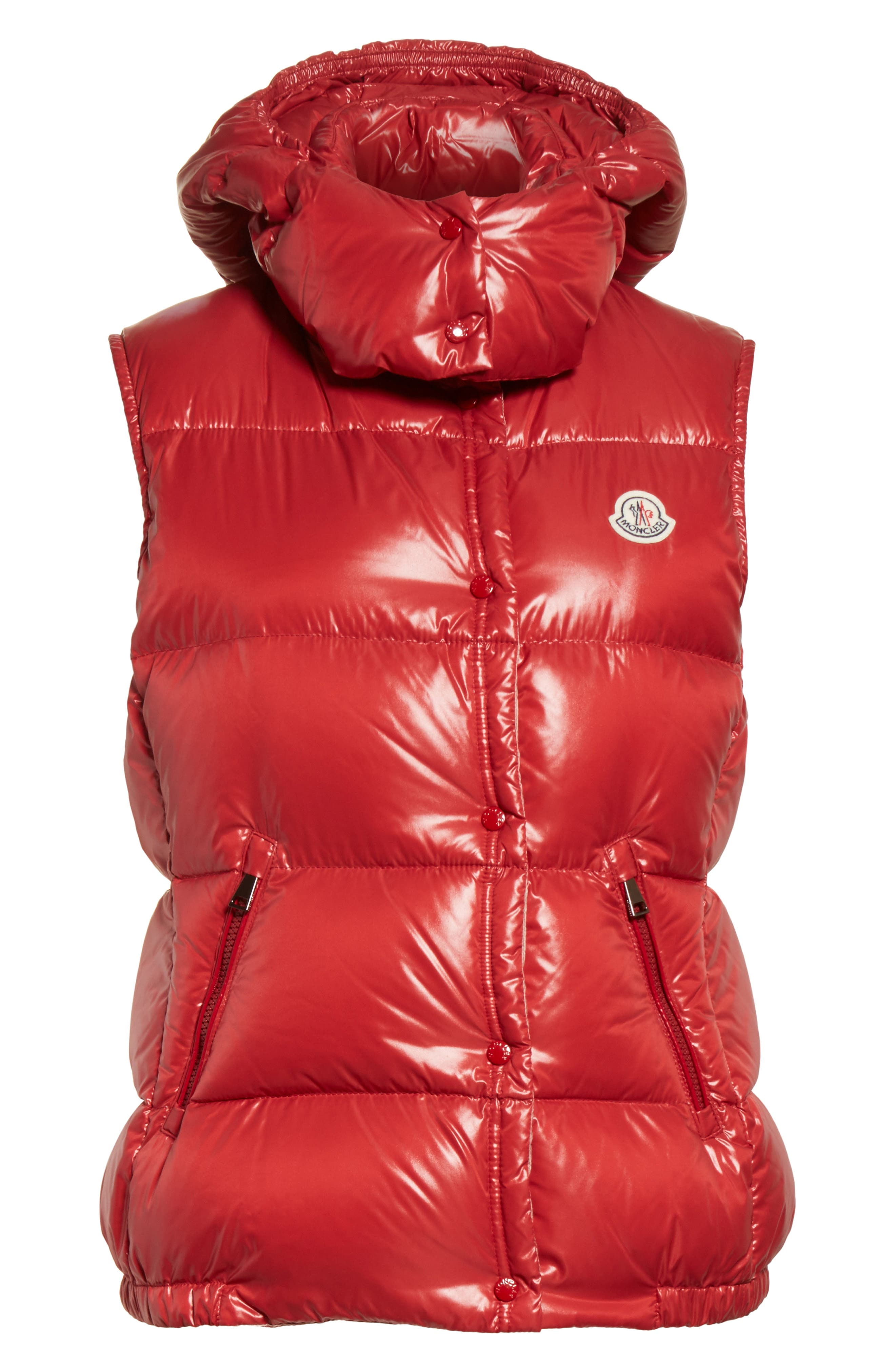 'Galene' Water Resistant Shiny Nylon Hooded Down Vest,                             Alternate thumbnail 6, color,                             Red