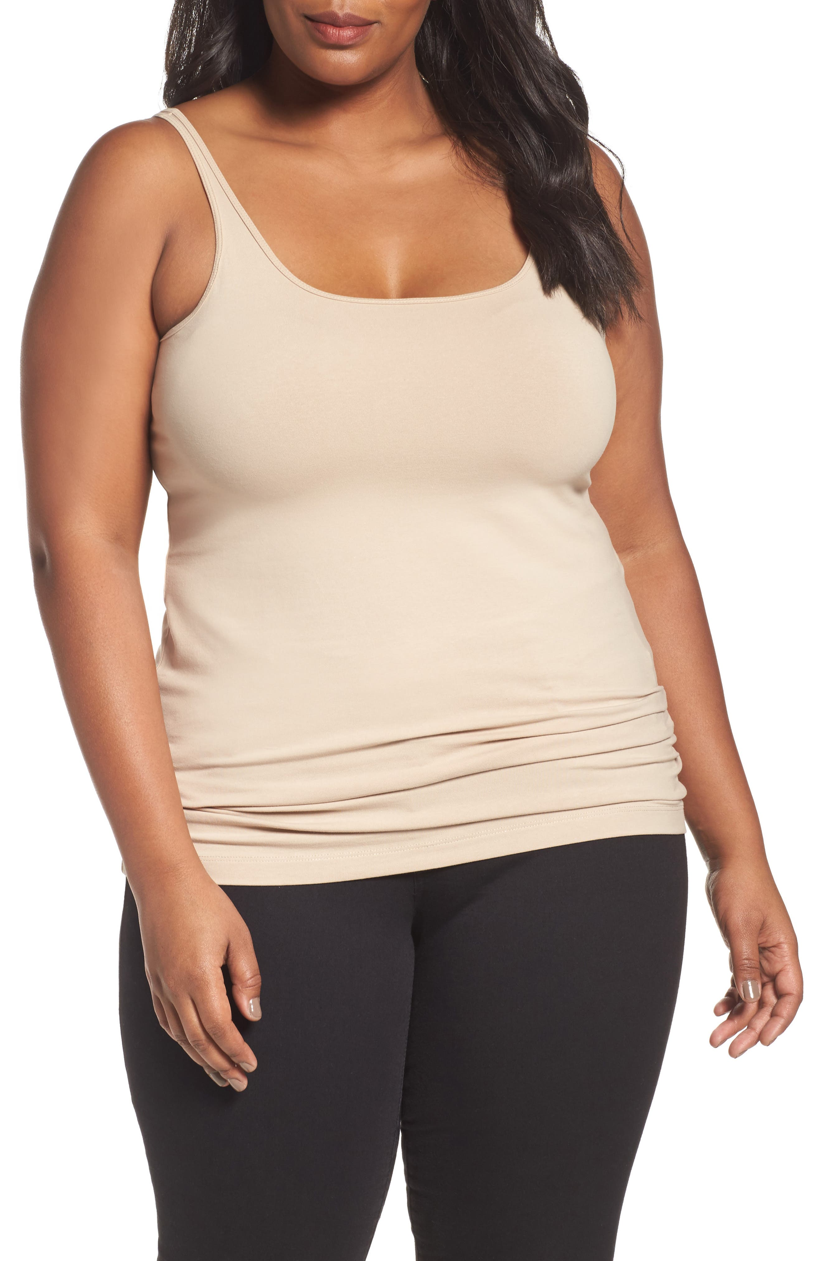 Alternate Image 1 Selected - Sejour New Slim Strap Tank (Plus Size)