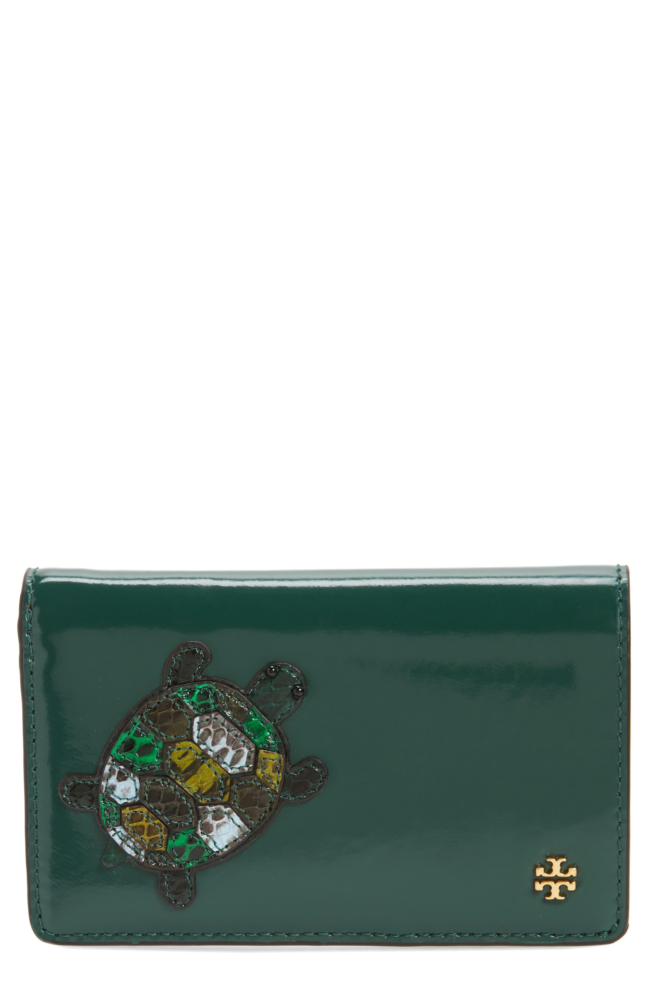 Tory Burch Turtle Genuine Snakeskin & Leather Wallet