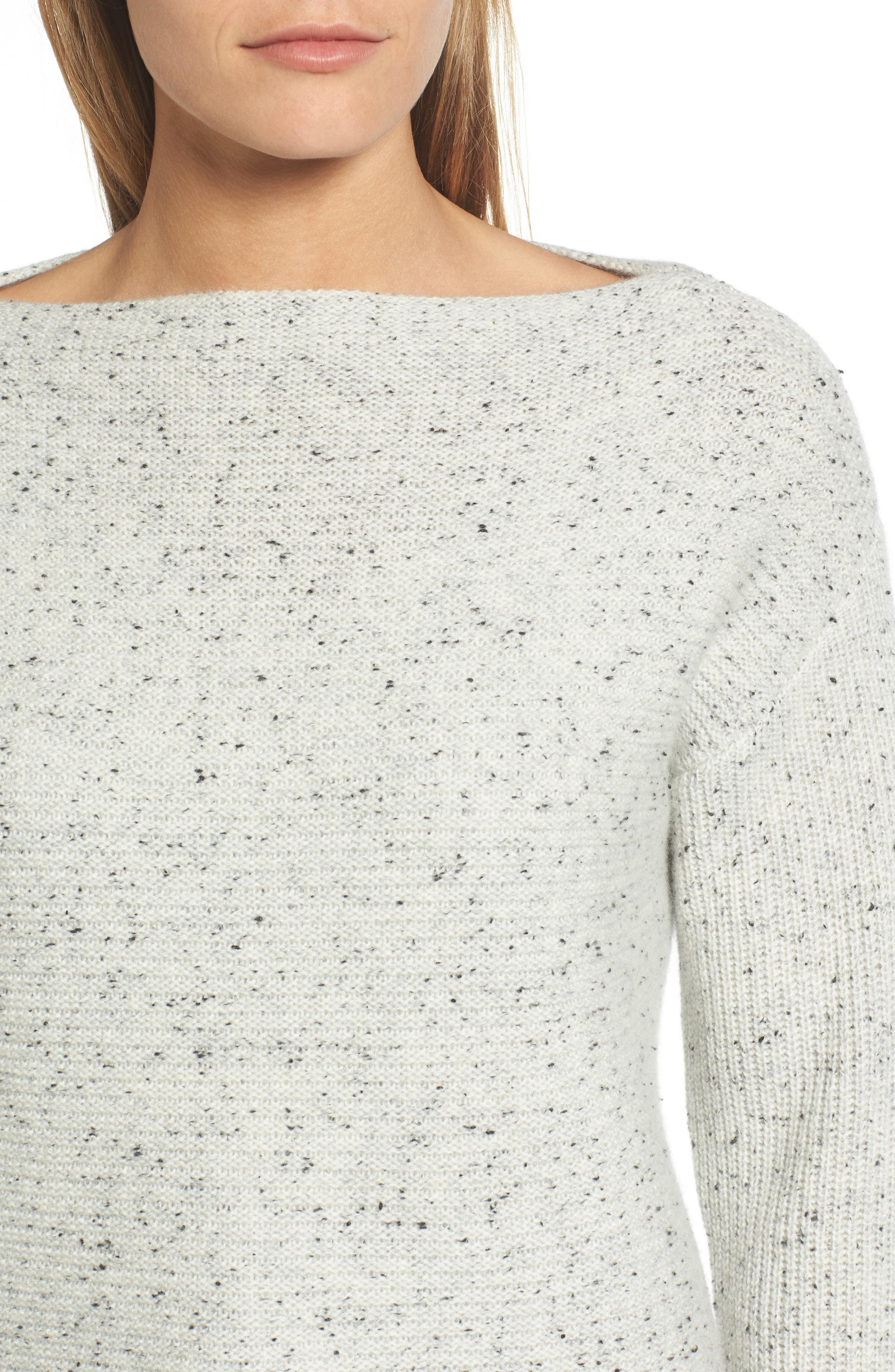 Textured Cashmere Sweater,                             Alternate thumbnail 4, color,                             Grey Clay Tweed