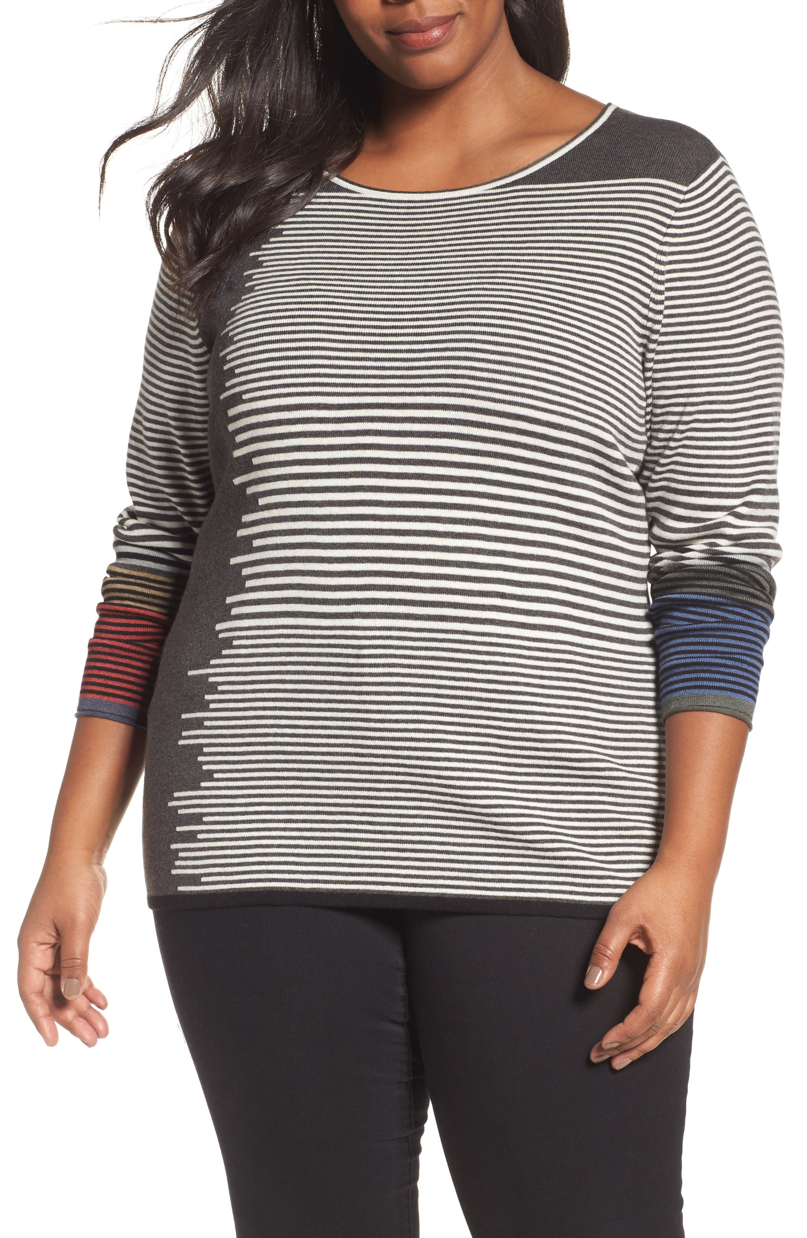 NIC+ZOE Metro Stripe Sweater (Plus Size)