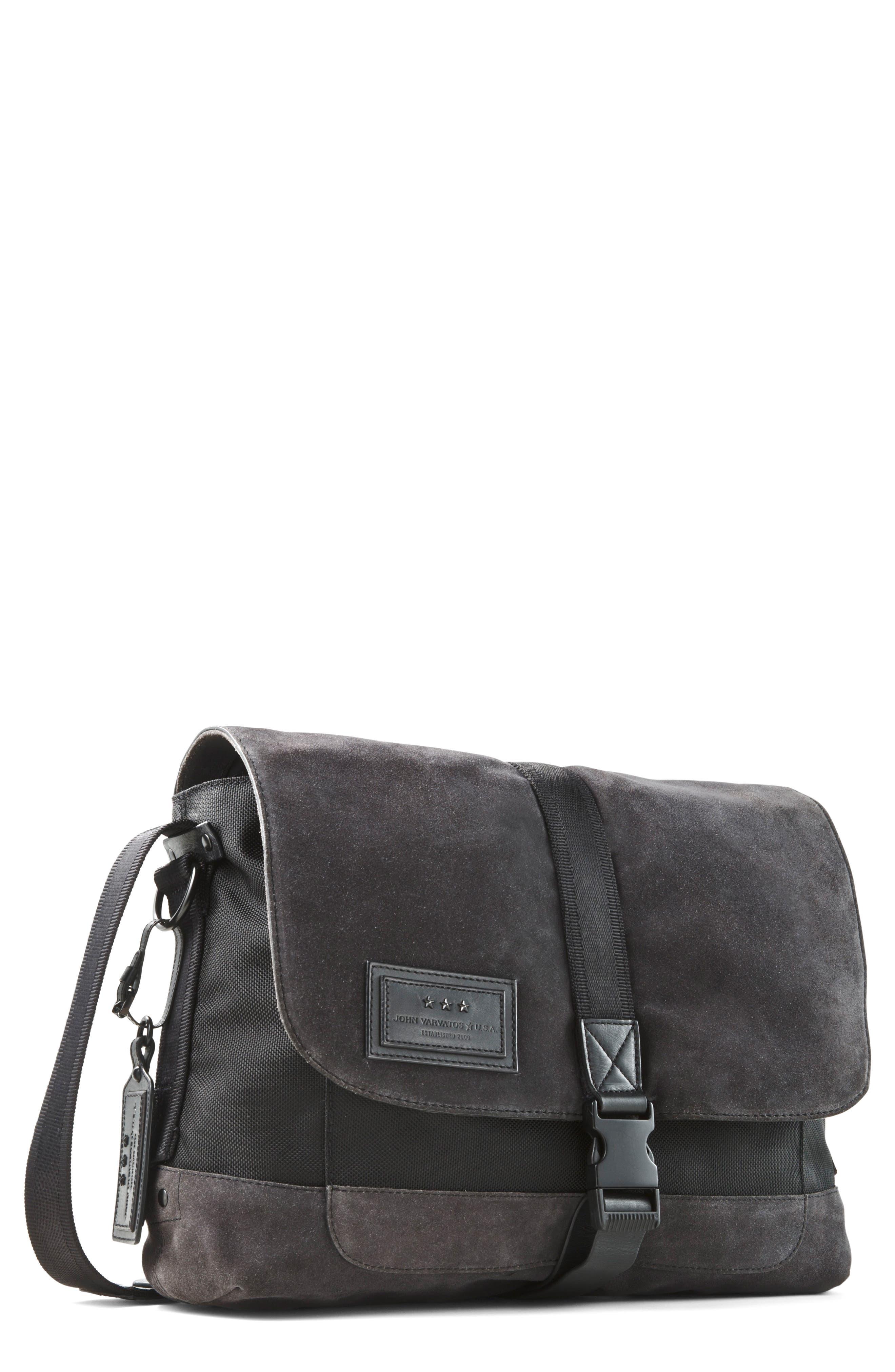 Suede & Ballistic Nylon Messenger Bag,                         Main,                         color, Elephant