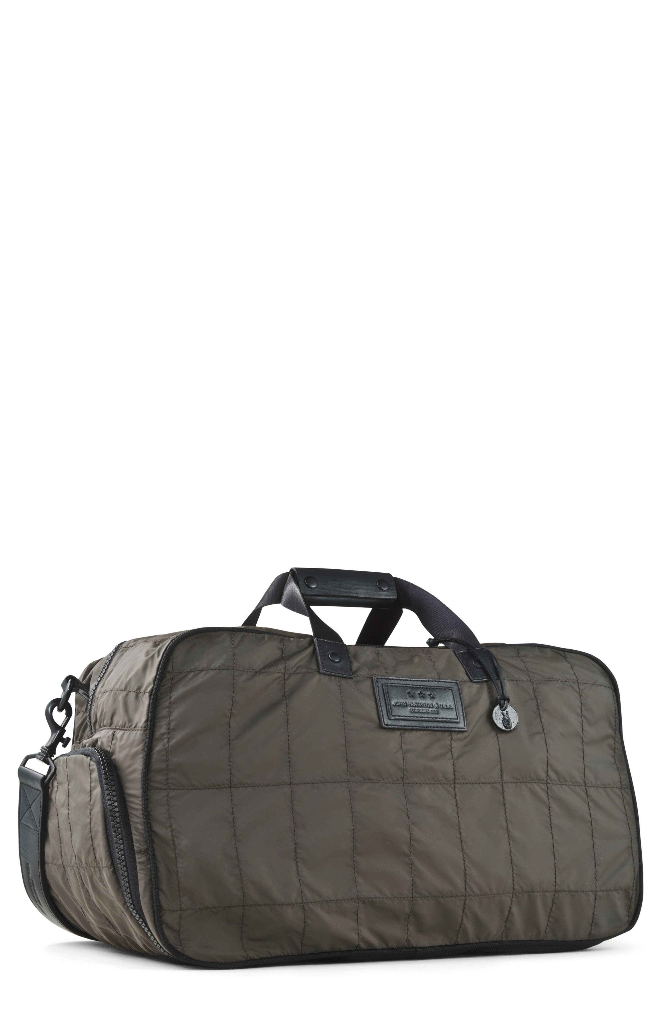 Quilted Nylon Duffel,                         Main,                         color, Army Green