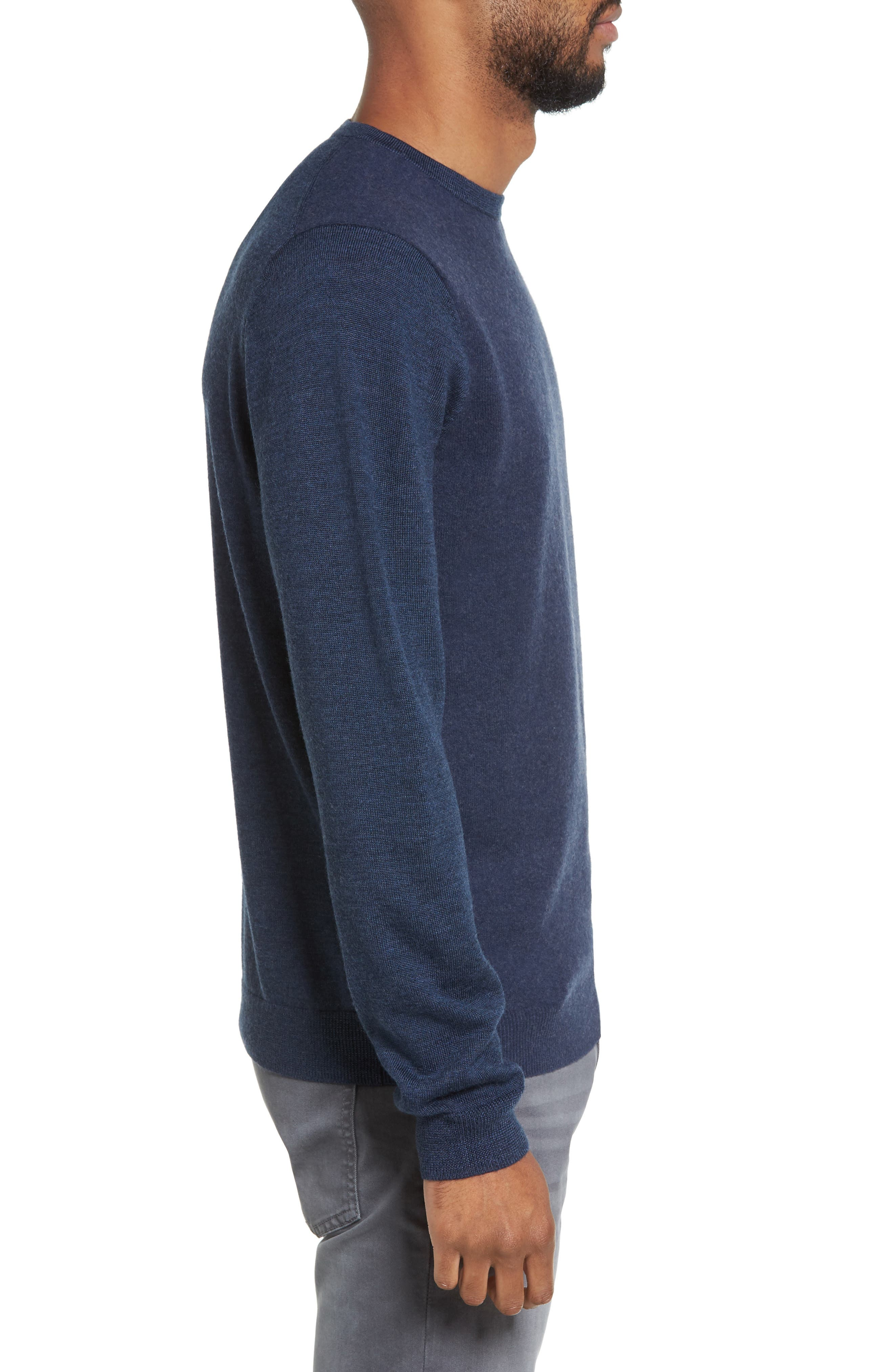 Merino Wool Blend Sweater,                             Alternate thumbnail 3, color,                             Navy Iris