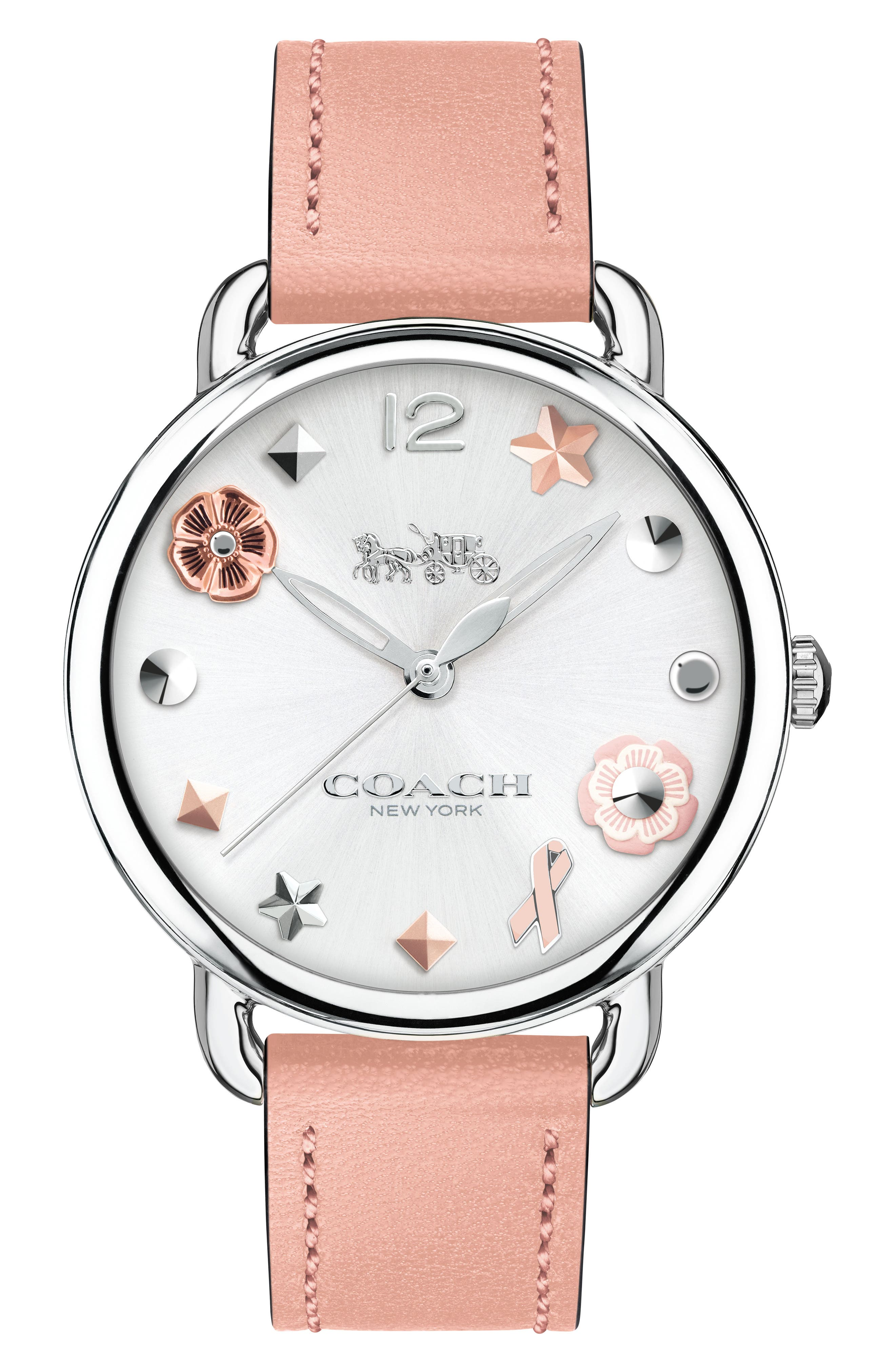 Delancey Leather Strap Watch, 36mm,                         Main,                         color, Pink/ Silver