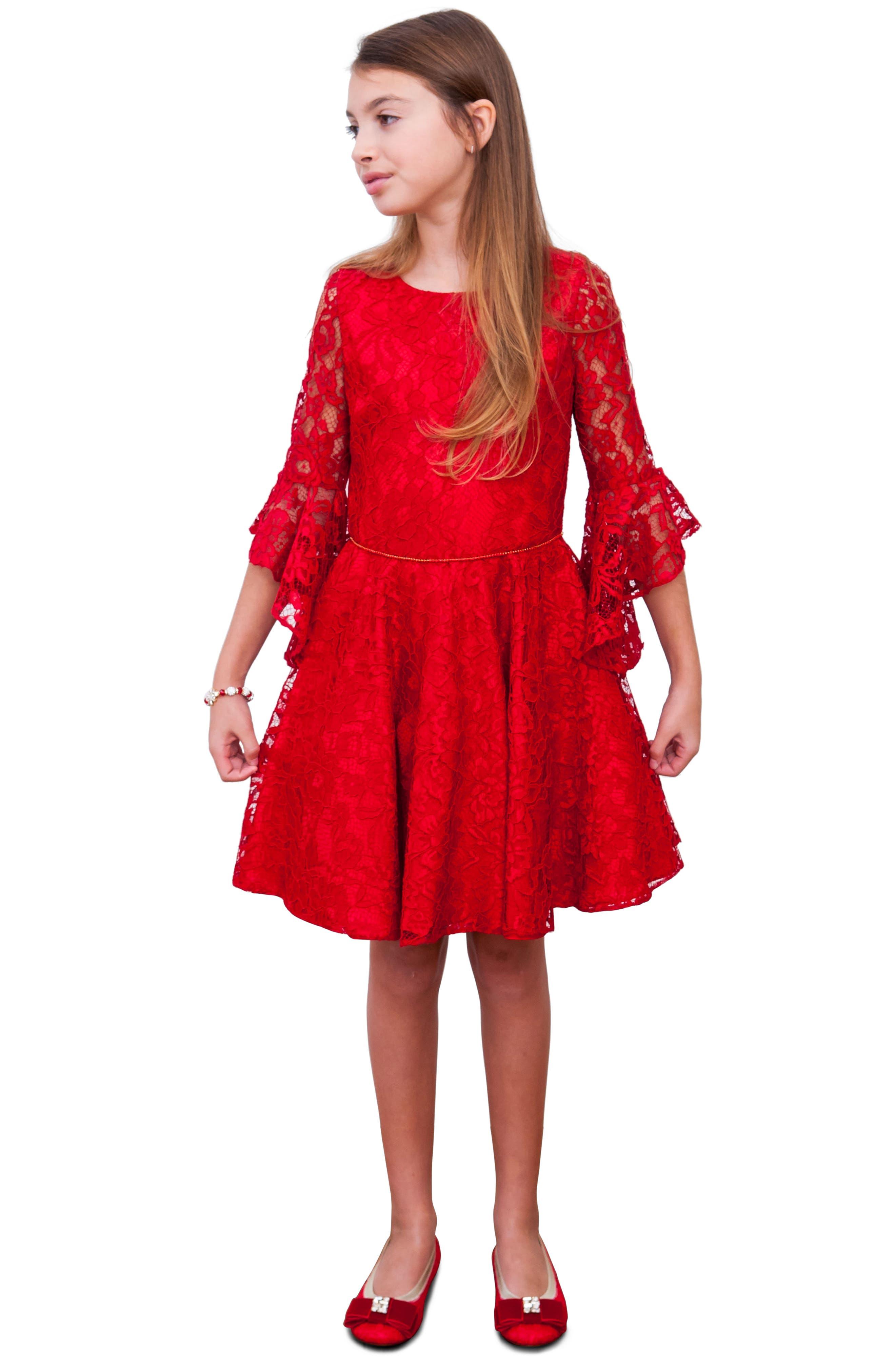 Alternate Image 2  - David Charles Bell Sleeve Lace Dress (Big Girls)