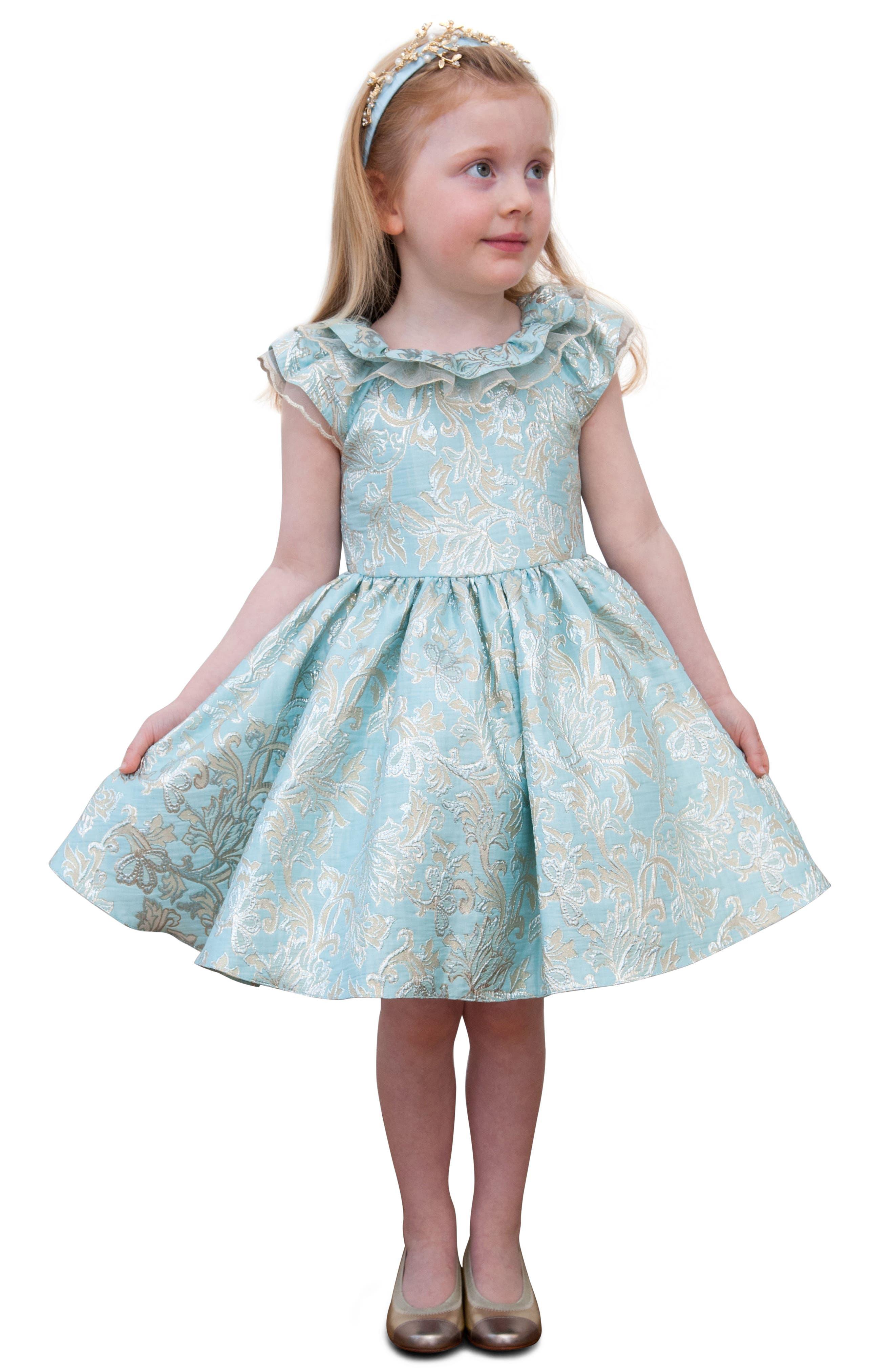 Alternate Image 2  - David Chales Ruffle Neck Brocade Dress (Toddler Girls & Little Girls)