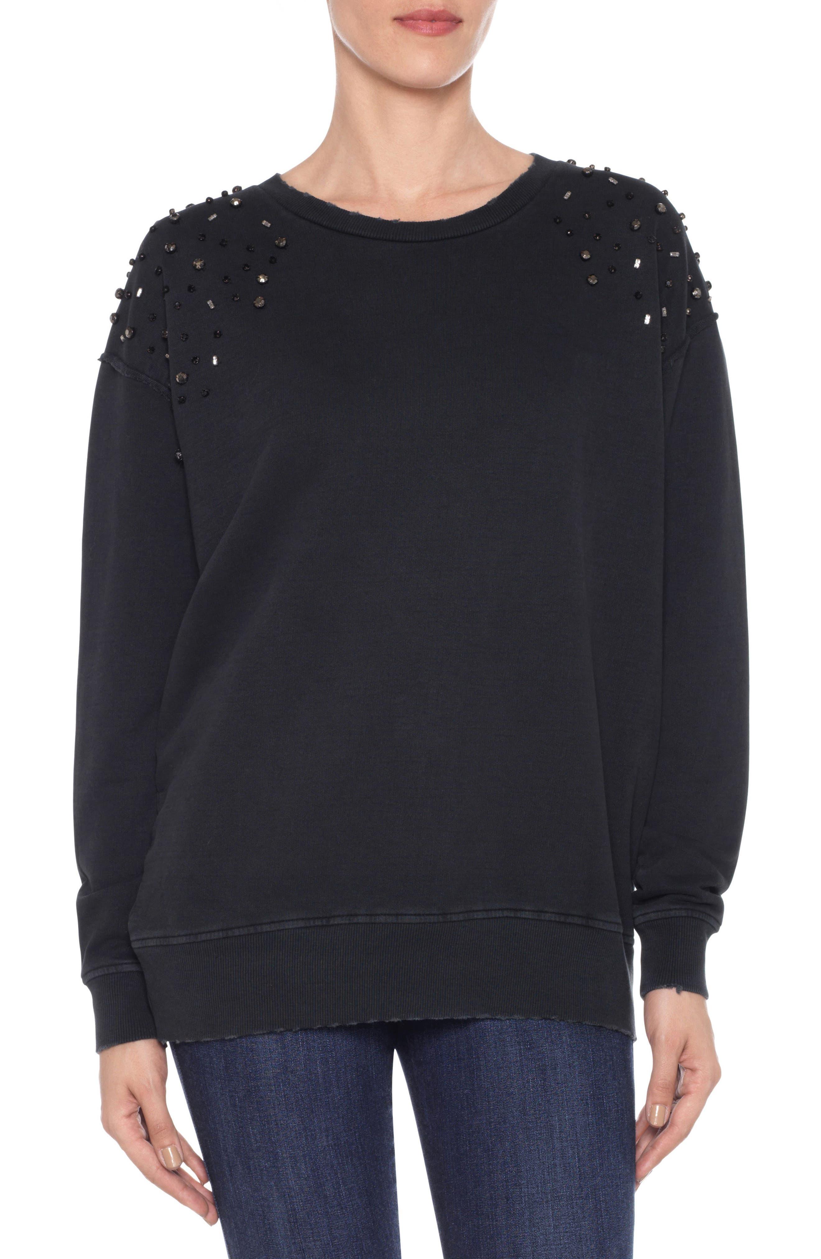 Crystal Sweatshirt,                             Main thumbnail 1, color,                             Black