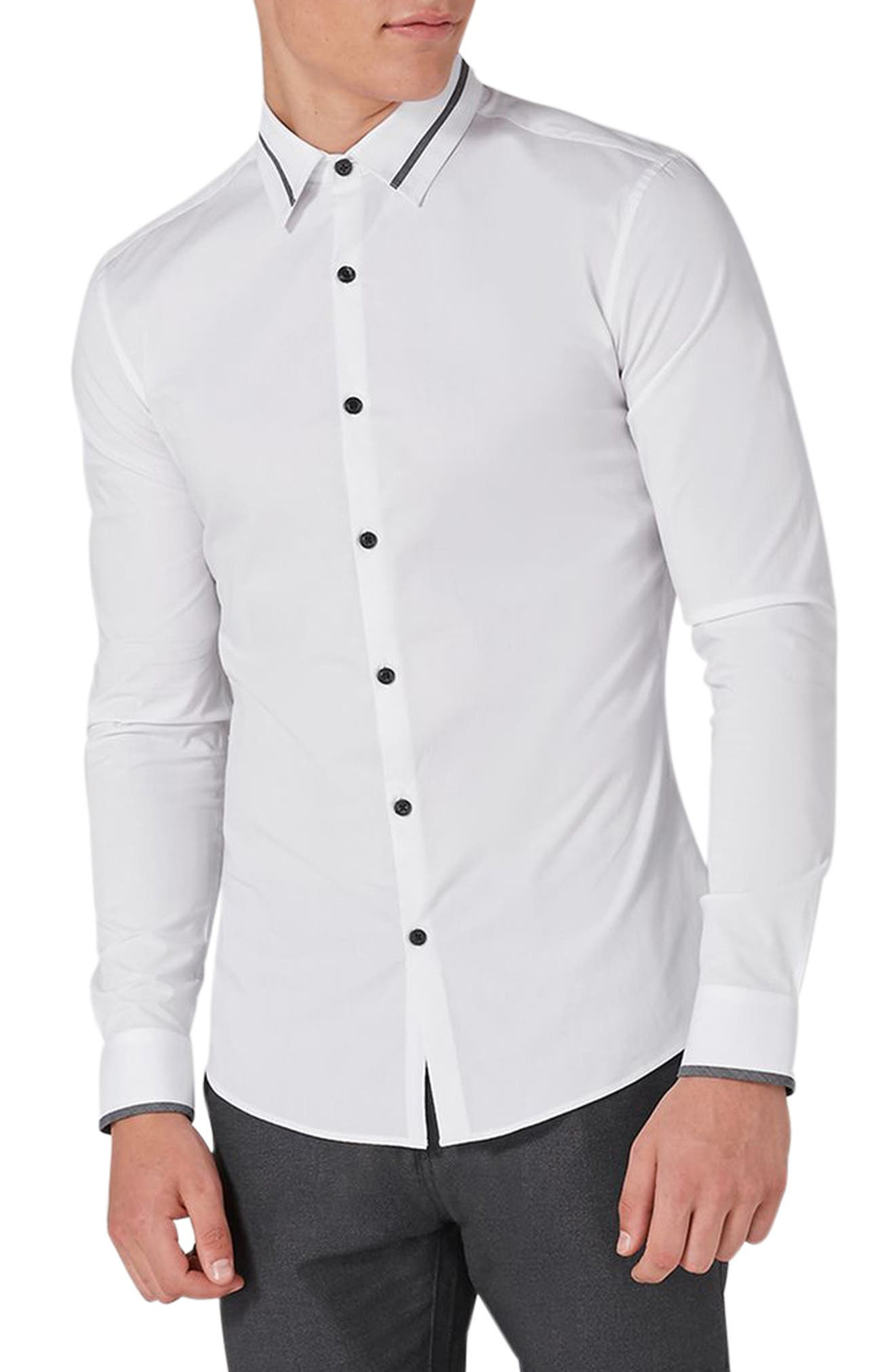Topman Muscle Fit Contrast Trim Smart Shirt