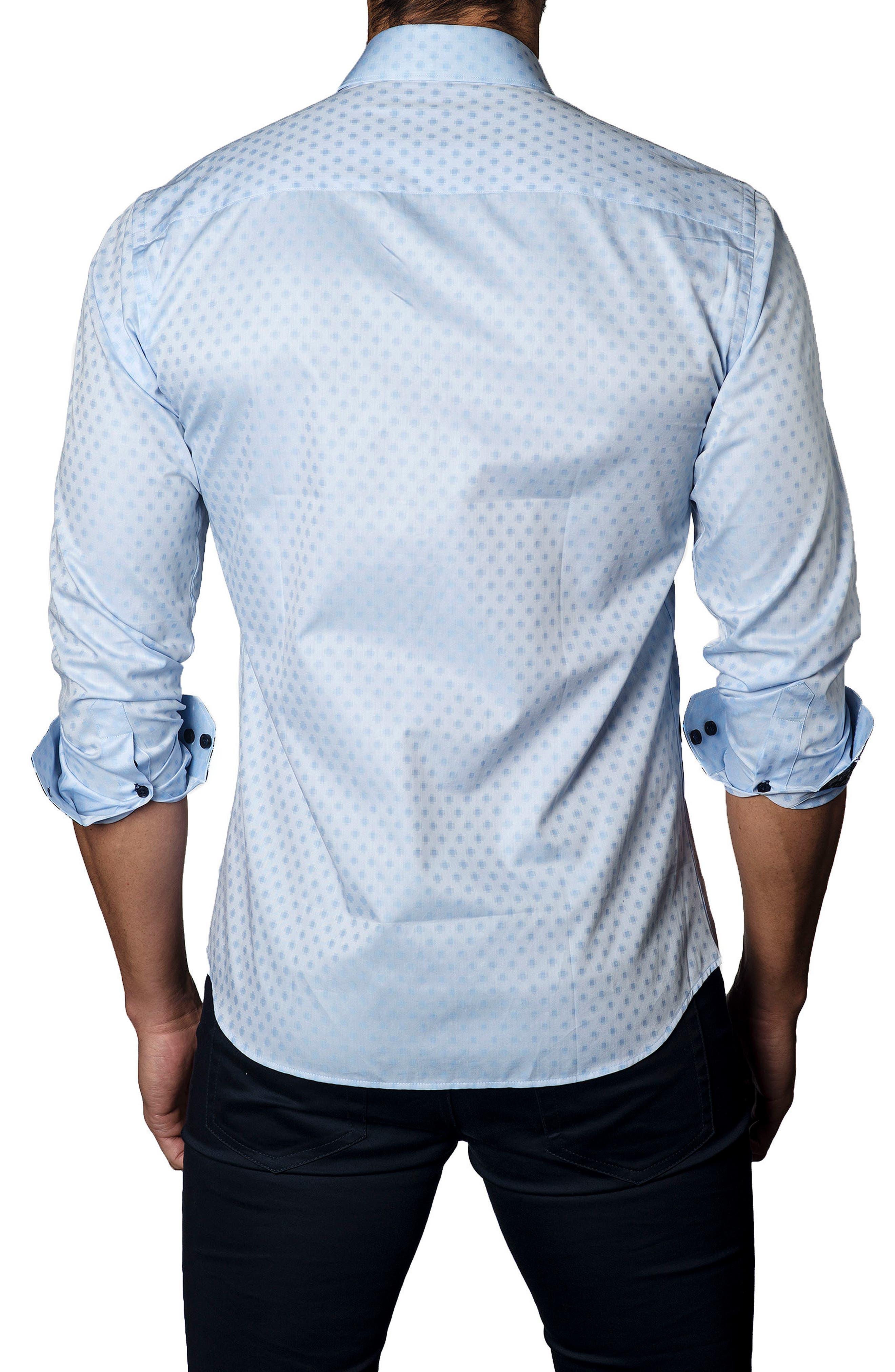 Trim Fit Dot Print Sport Shirt,                             Alternate thumbnail 2, color,                             Baby Blue