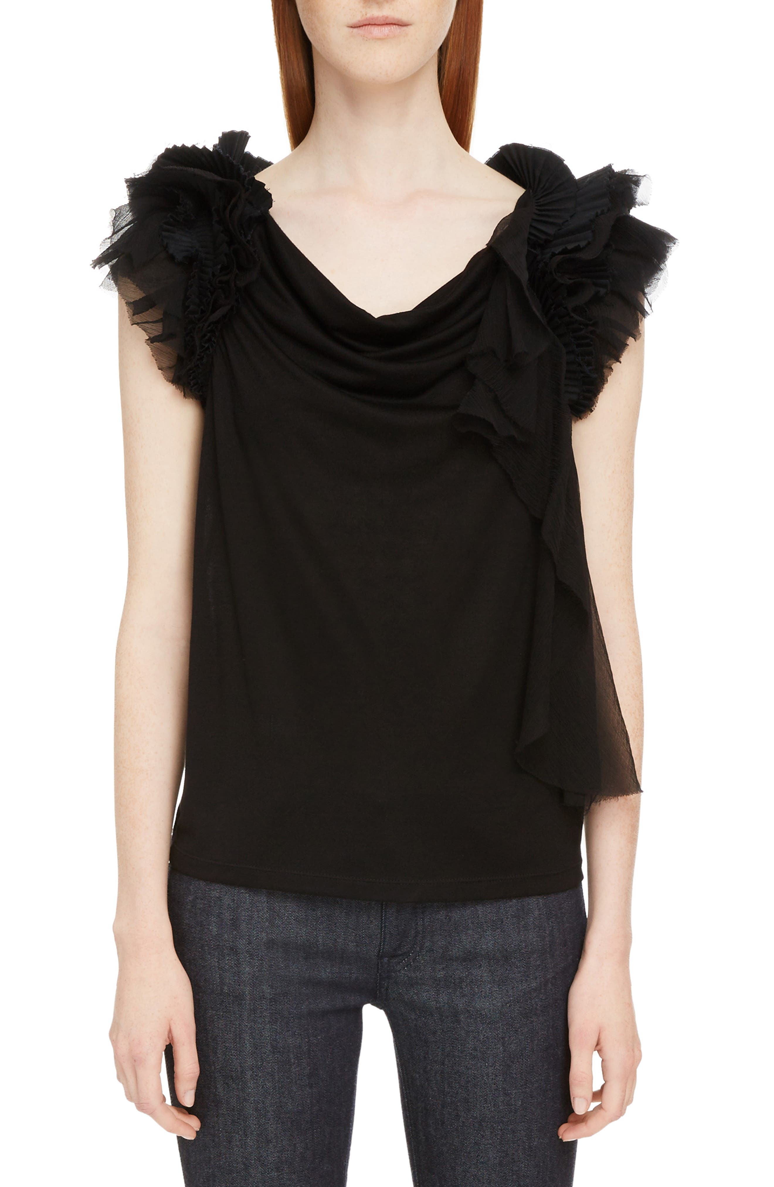 Ruffle Sleeve Jersey Top,                         Main,                         color, Black