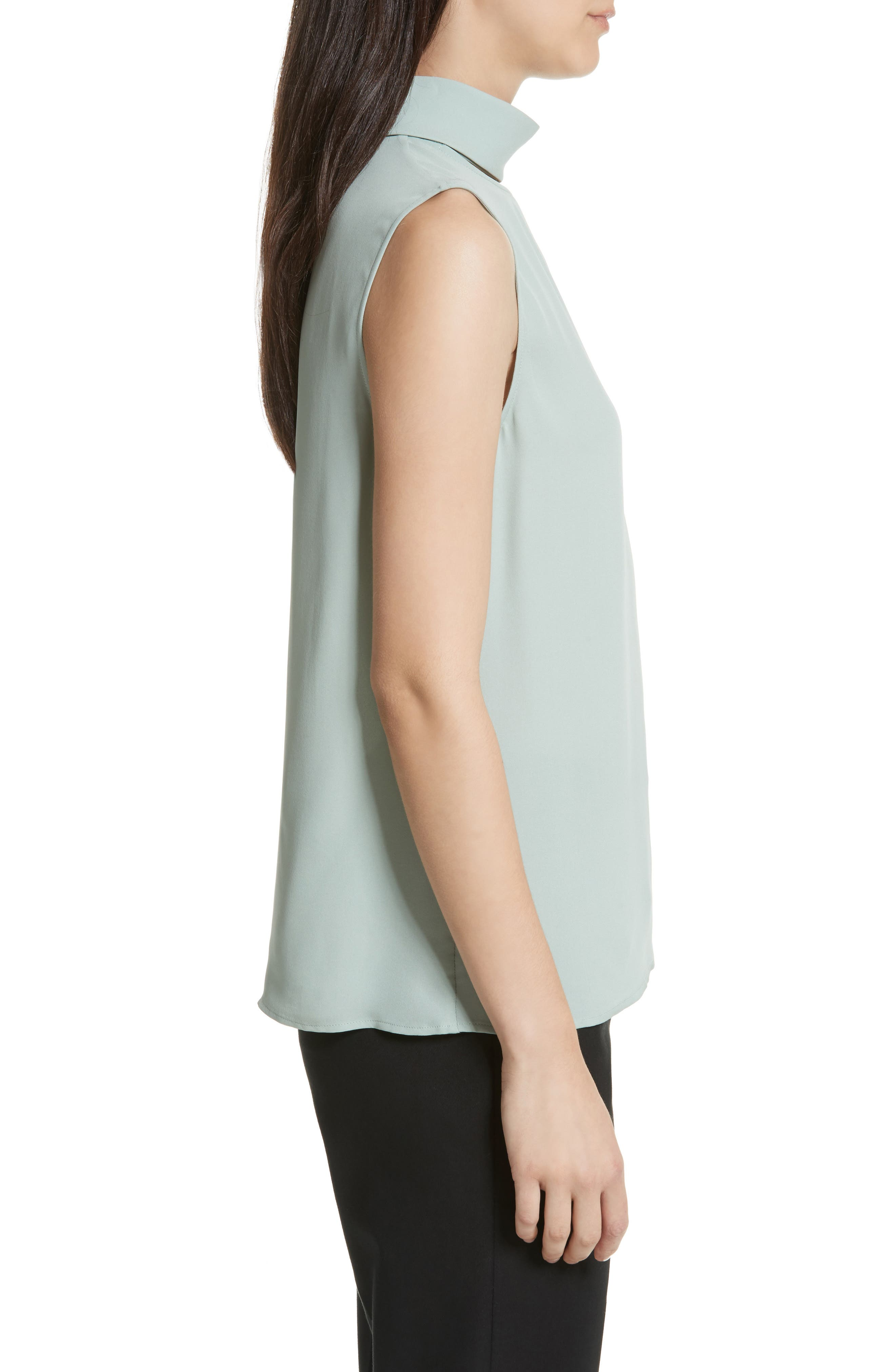 Classic Slit Collar Silk Top,                             Alternate thumbnail 3, color,                             Winter Green