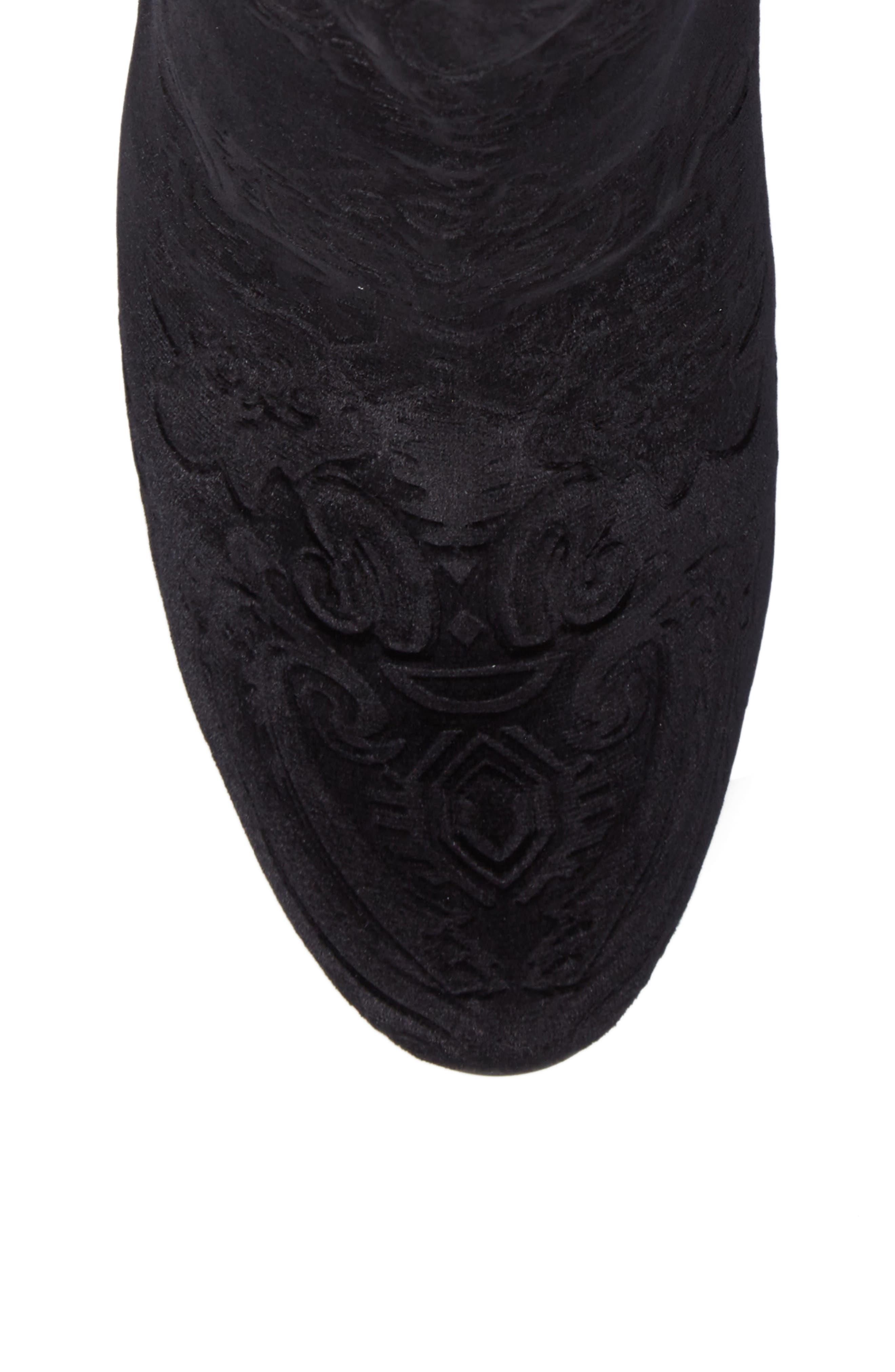 Marian Block Heel Bootie,                             Alternate thumbnail 5, color,                             Black Embossed Velvet