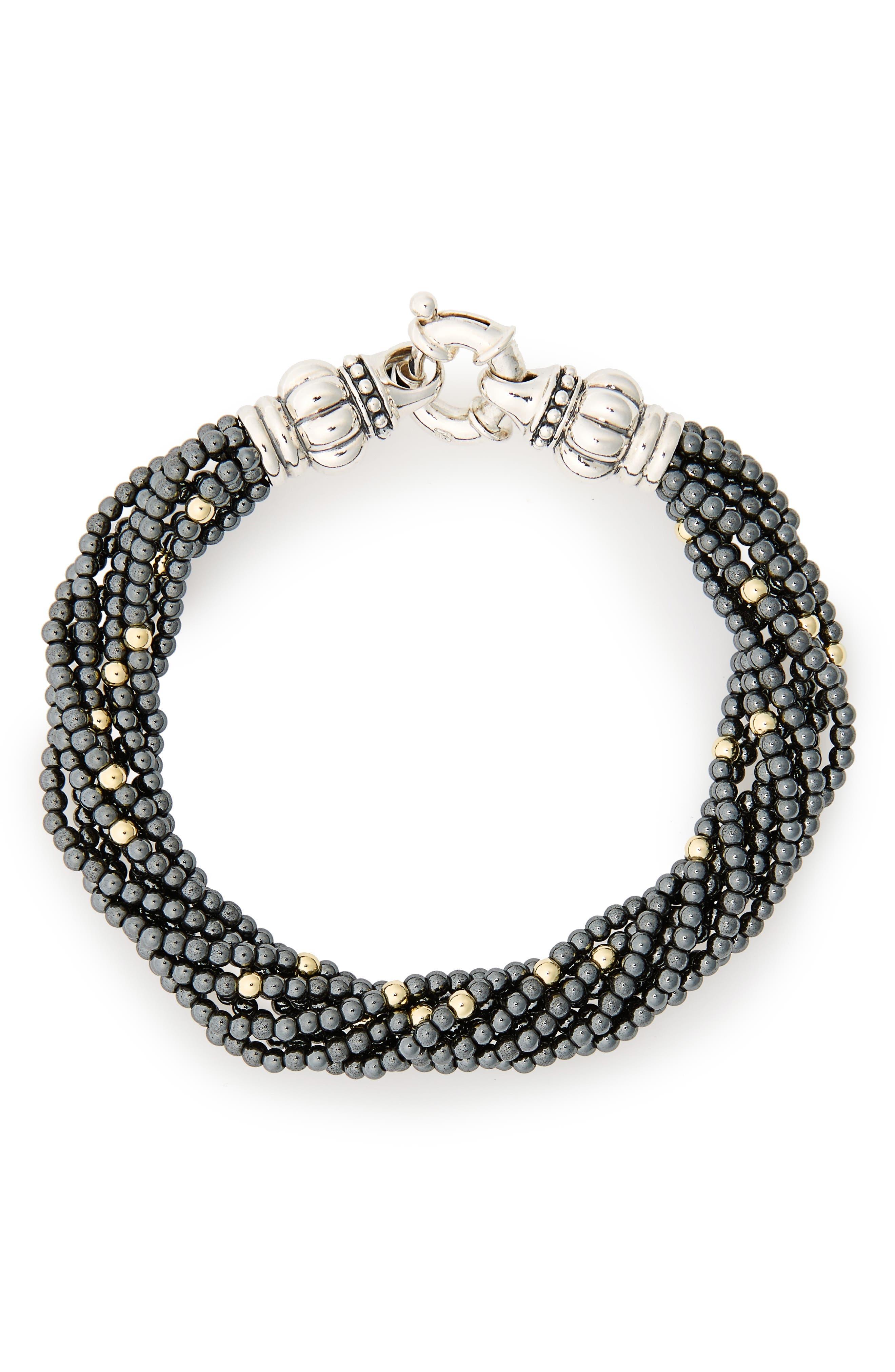 Caviar Icon Hematite Bracelet,                             Main thumbnail 1, color,                             Hematite