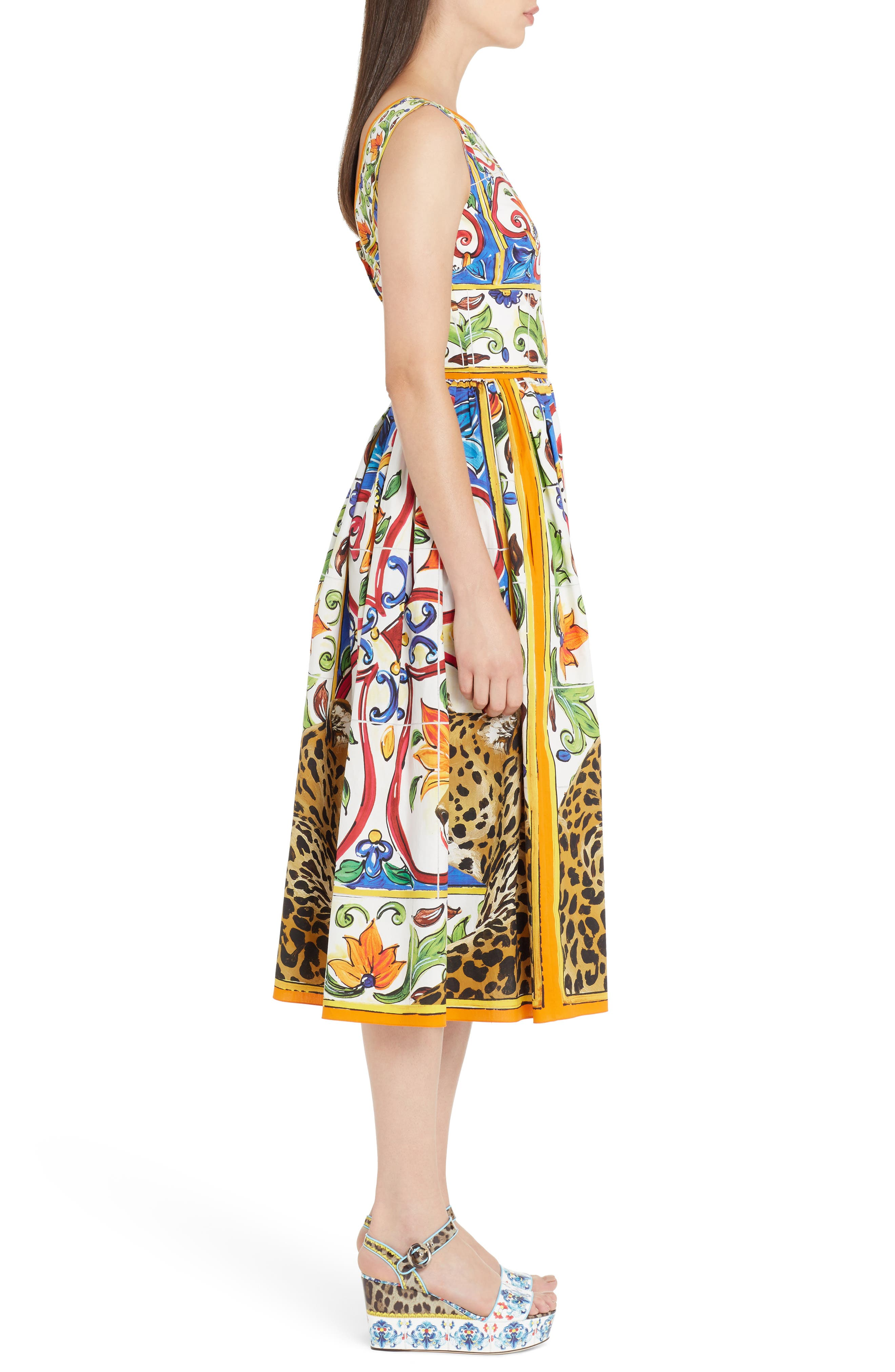 Maiolica Print Fit & Flare Dress,                             Alternate thumbnail 3, color,                             Print